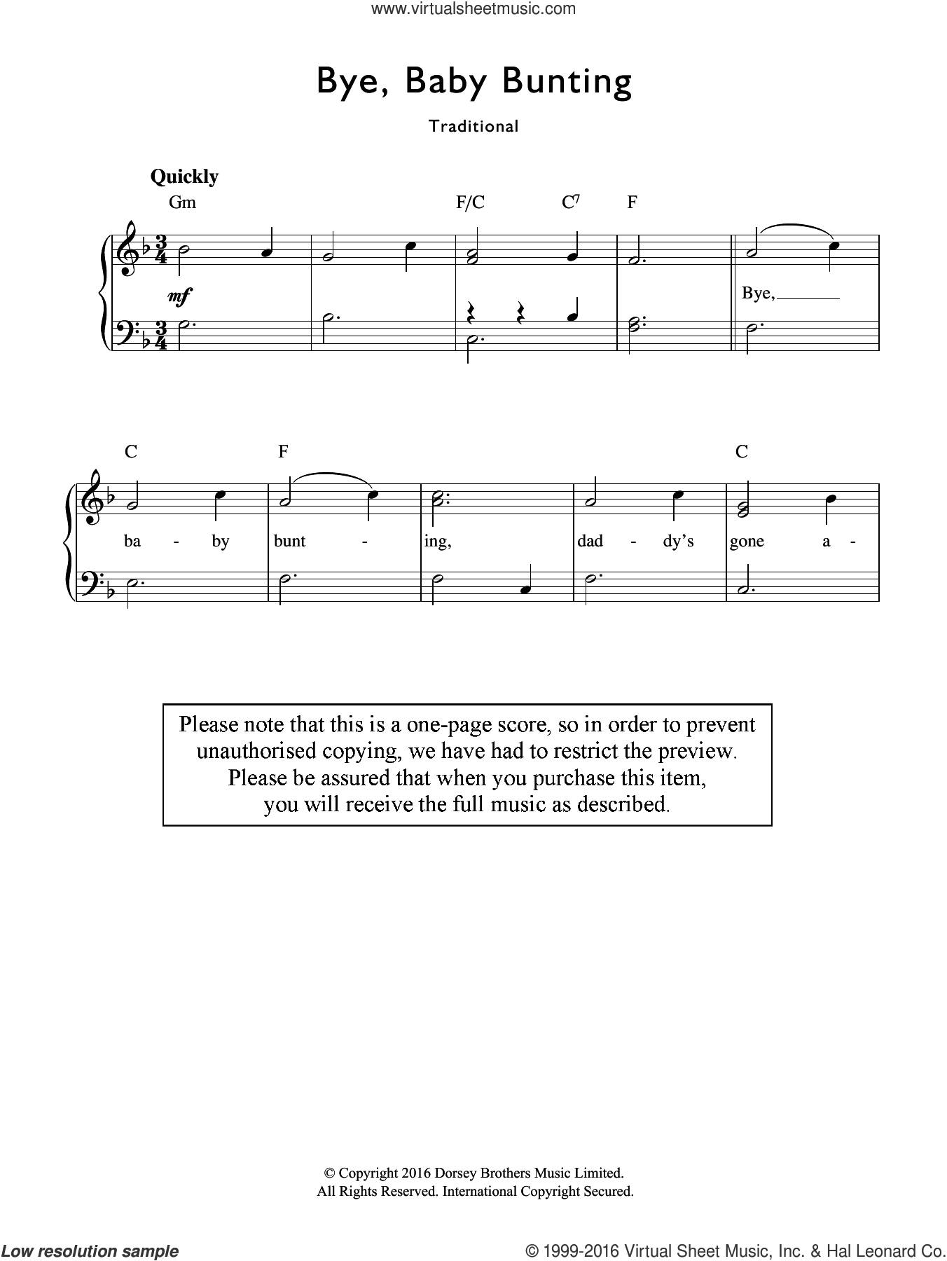 Rhyme Bye Baby Bunting Sheet Music