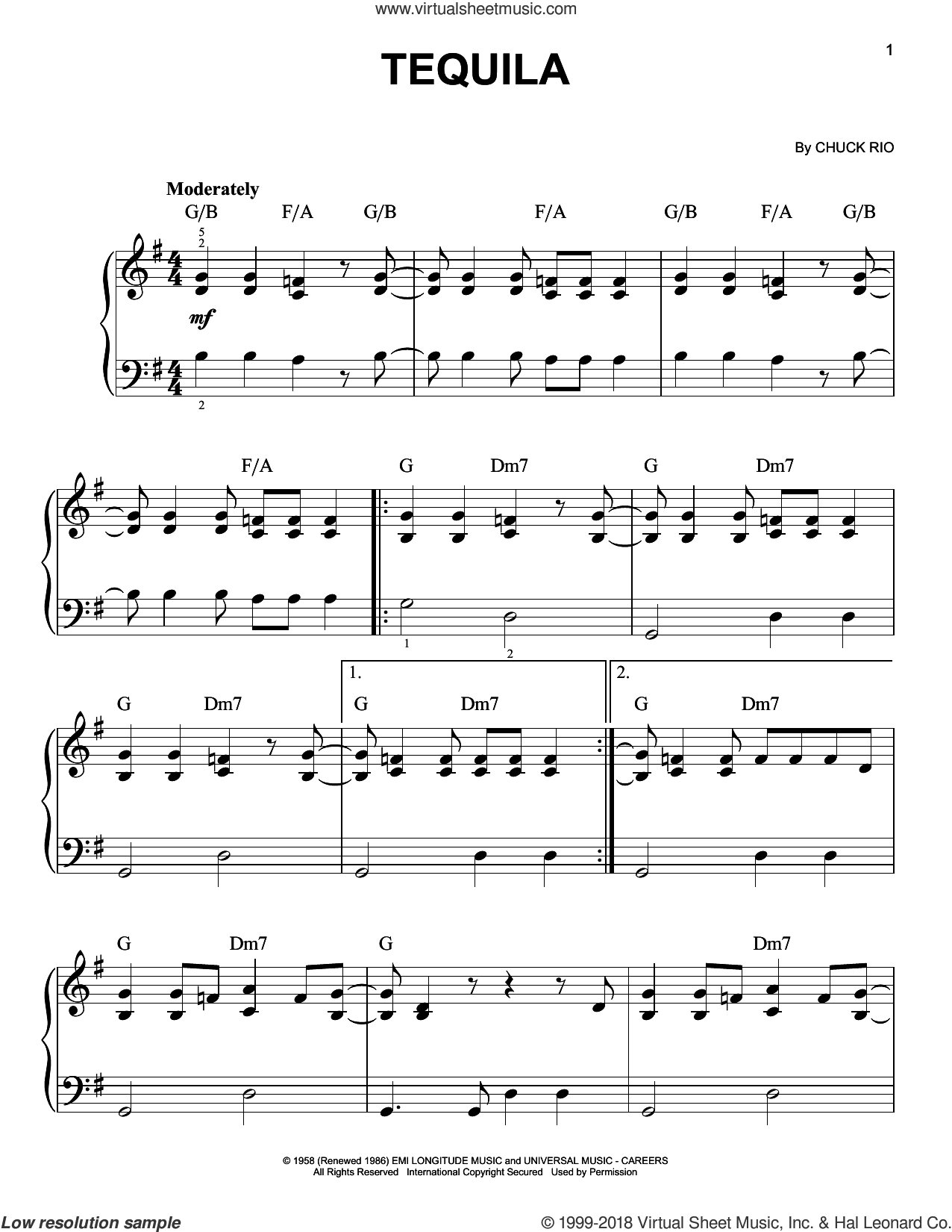 Tequila sheet music for piano solo by The Champs and Chuck Rio, beginner skill level
