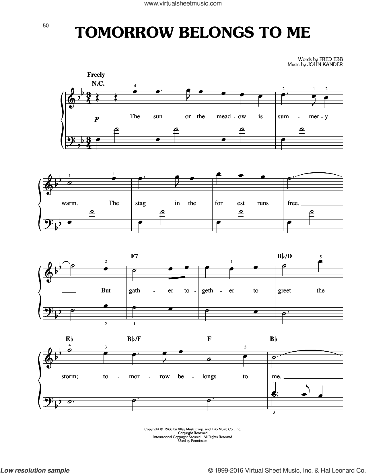 Tomorrow Belongs To Me sheet music for piano solo by John Kander and Fred Ebb, easy piano. Score Image Preview.