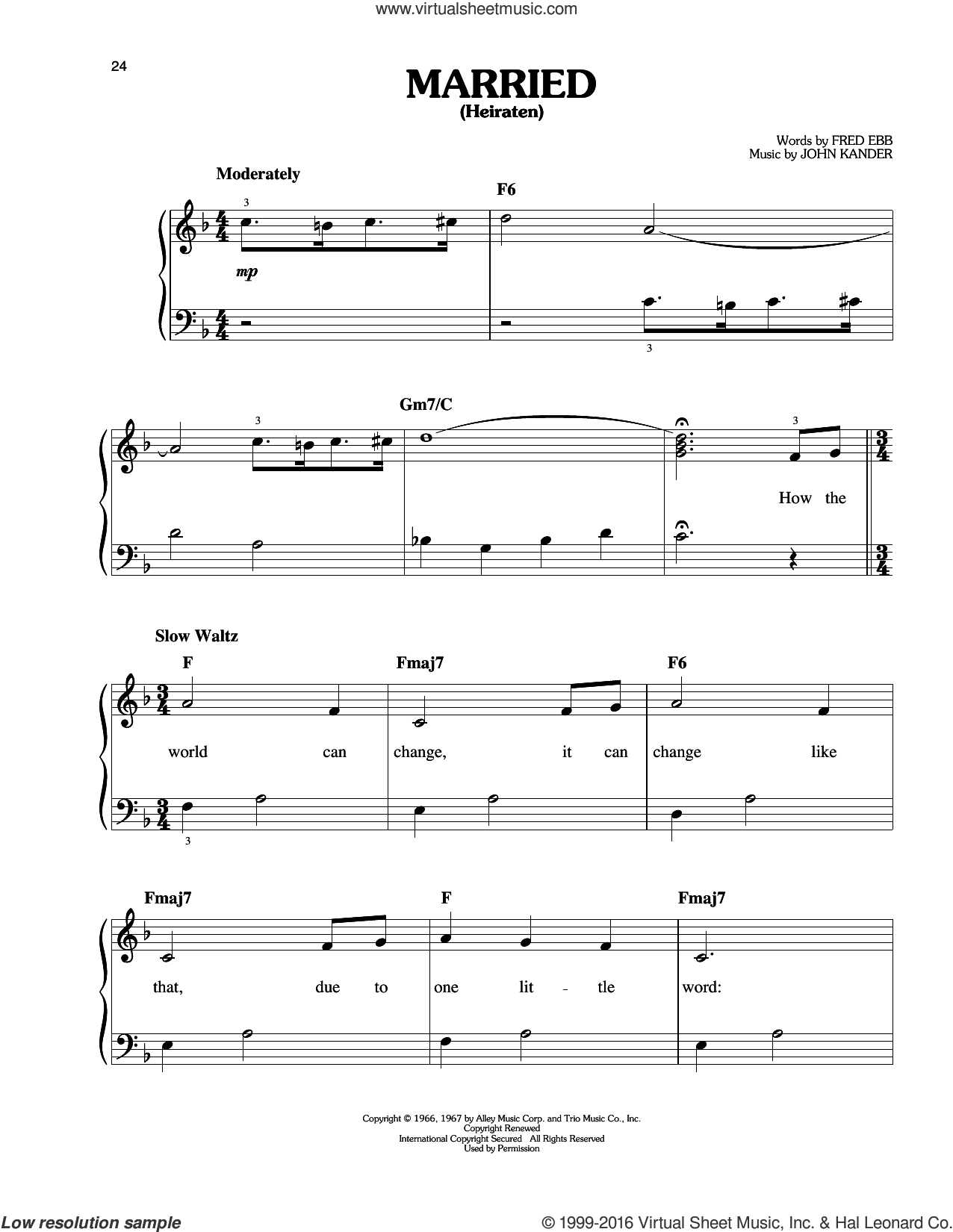 Married (Heiraten) sheet music for piano solo by Fred Ebb