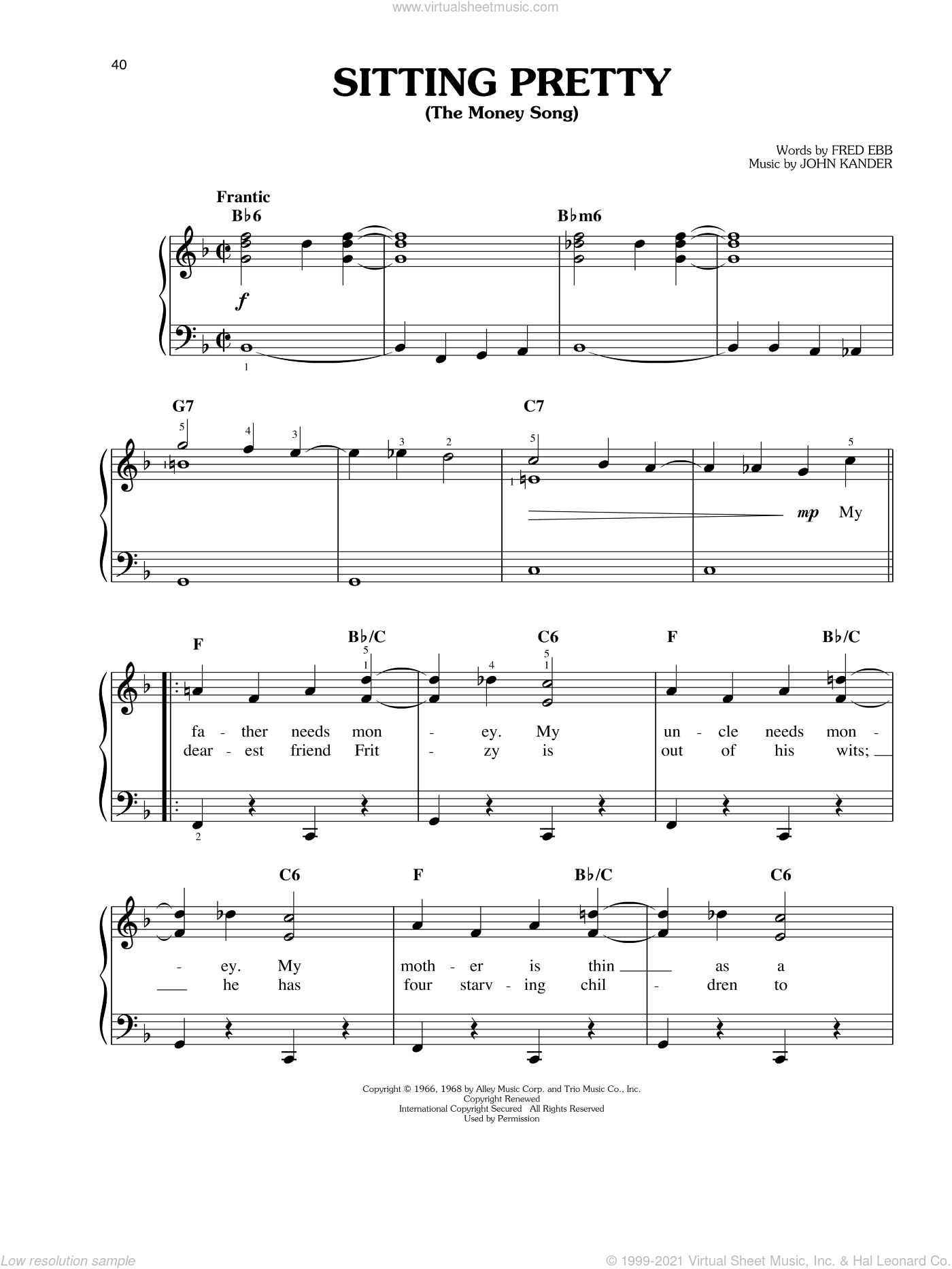 Sitting Pretty (The Money Song) sheet music for piano solo by John Kander and Fred Ebb, easy. Score Image Preview.