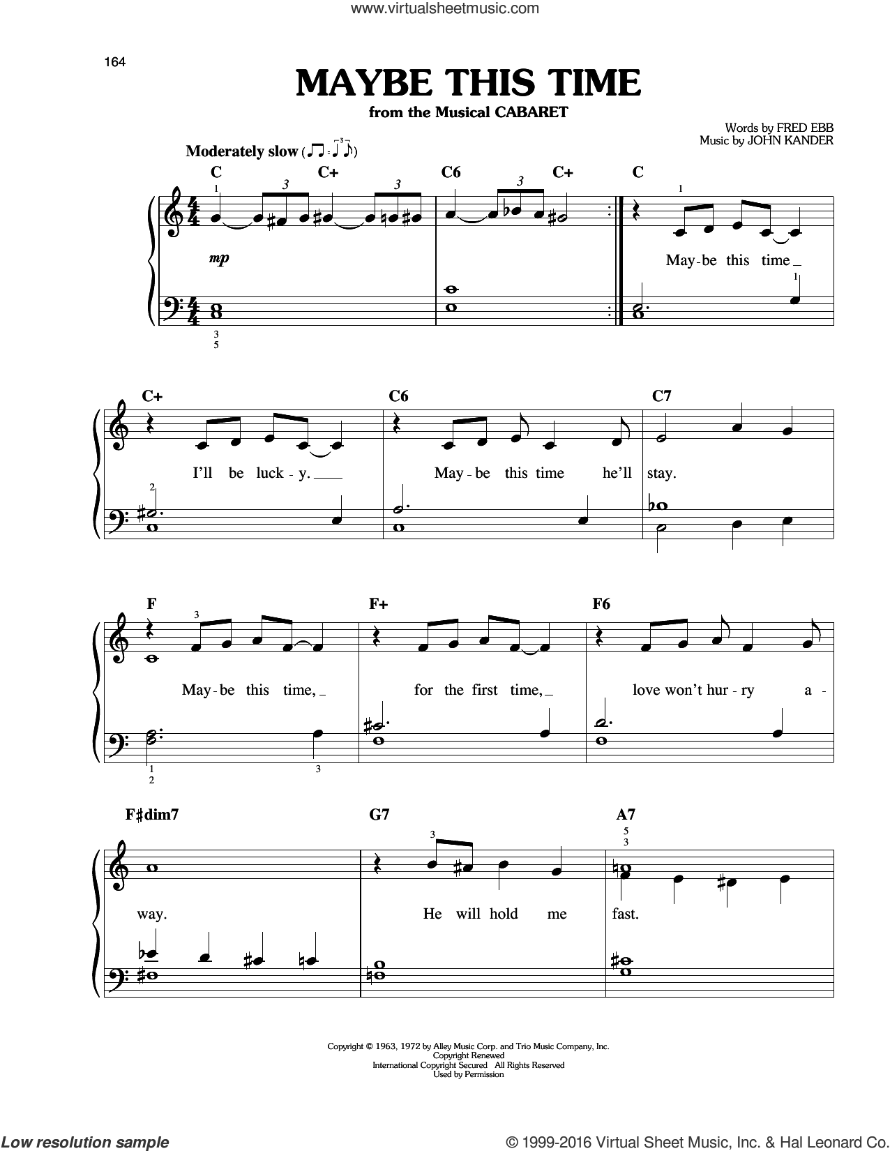 Maybe This Time sheet music for piano solo by John Kander and Fred Ebb, easy piano. Score Image Preview.