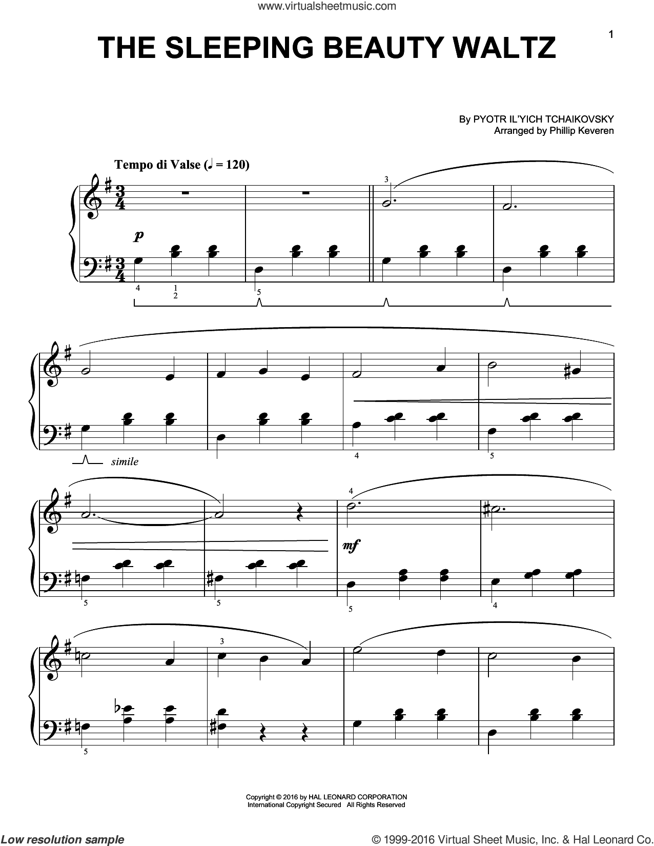 The Sleeping Beauty Waltz sheet music for piano solo by Phillip Keveren and Pyotr Ilyich Tchaikovsky. Score Image Preview.