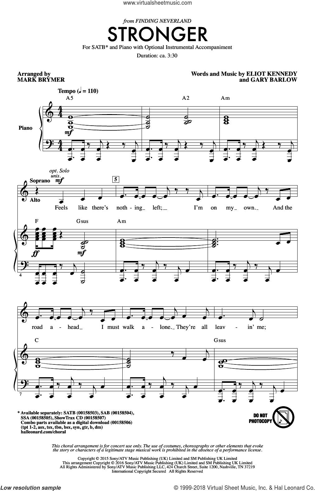 Stronger sheet music for choir and piano (SATB) by Gary Barlow, Mark Brymer and Eliot Kennedy. Score Image Preview.
