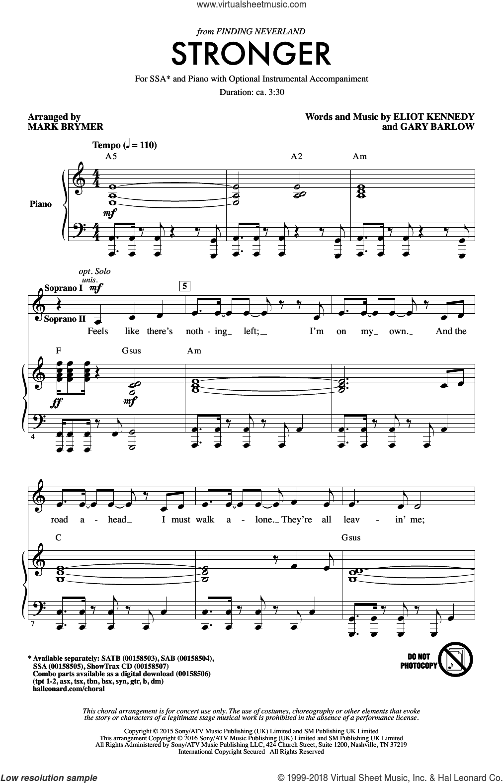 Stronger sheet music for choir and piano (SSA) by Gary Barlow, Mark Brymer and Eliot Kennedy. Score Image Preview.