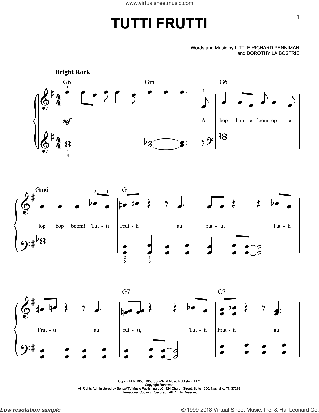 Tutti Frutti sheet music for piano solo by Dorothy La Bostrie and Pat Boone. Score Image Preview.
