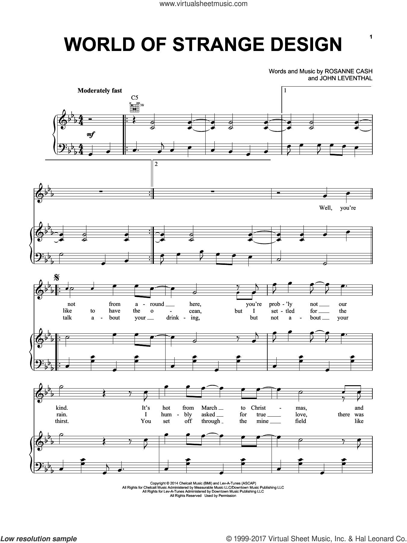 World Of Strange Design sheet music for voice, piano or guitar by Rosanne Cash and John Leventhal. Score Image Preview.