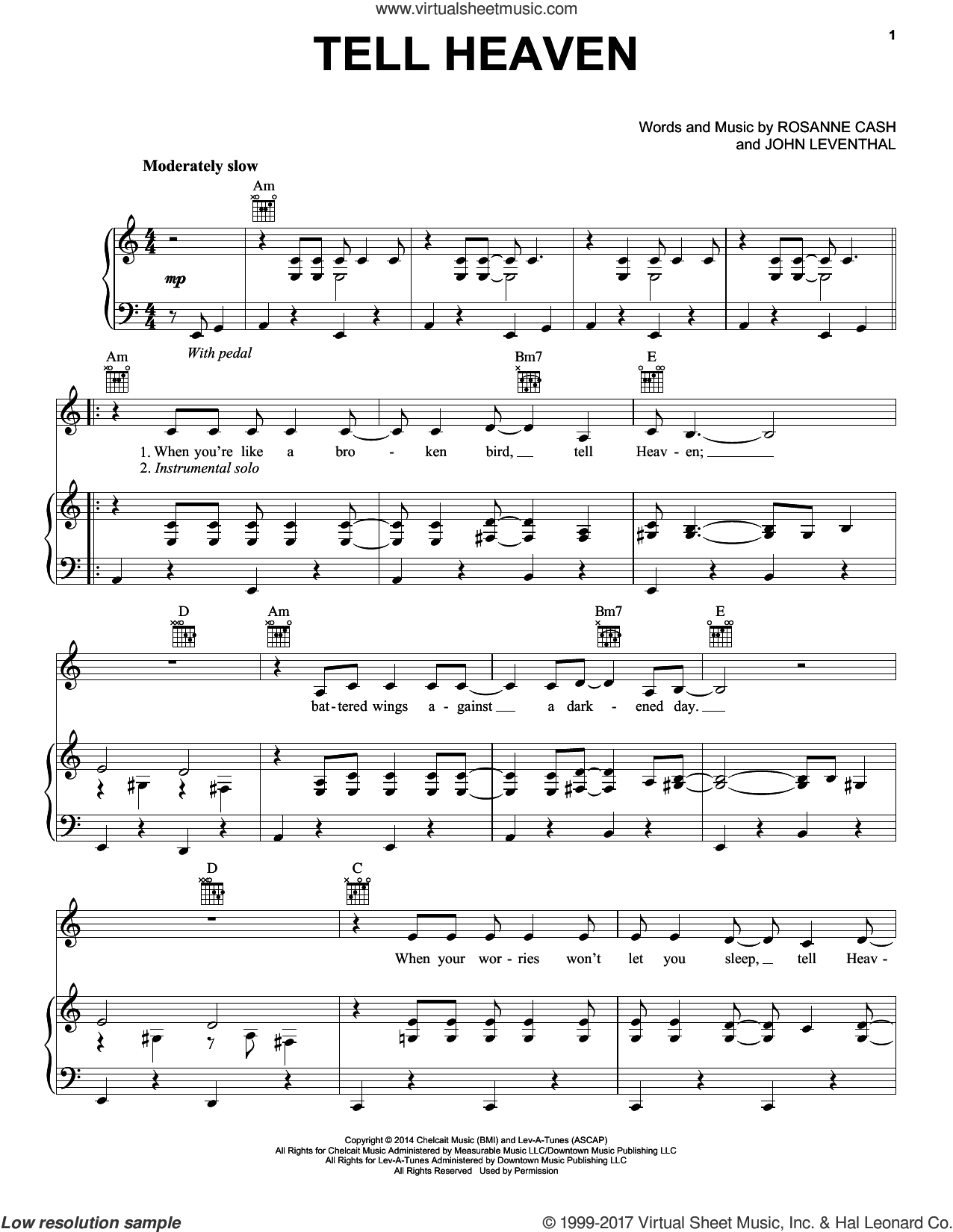 Tell Heaven sheet music for voice, piano or guitar by Rosanne Cash and John Leventhal, intermediate voice, piano or guitar. Score Image Preview.