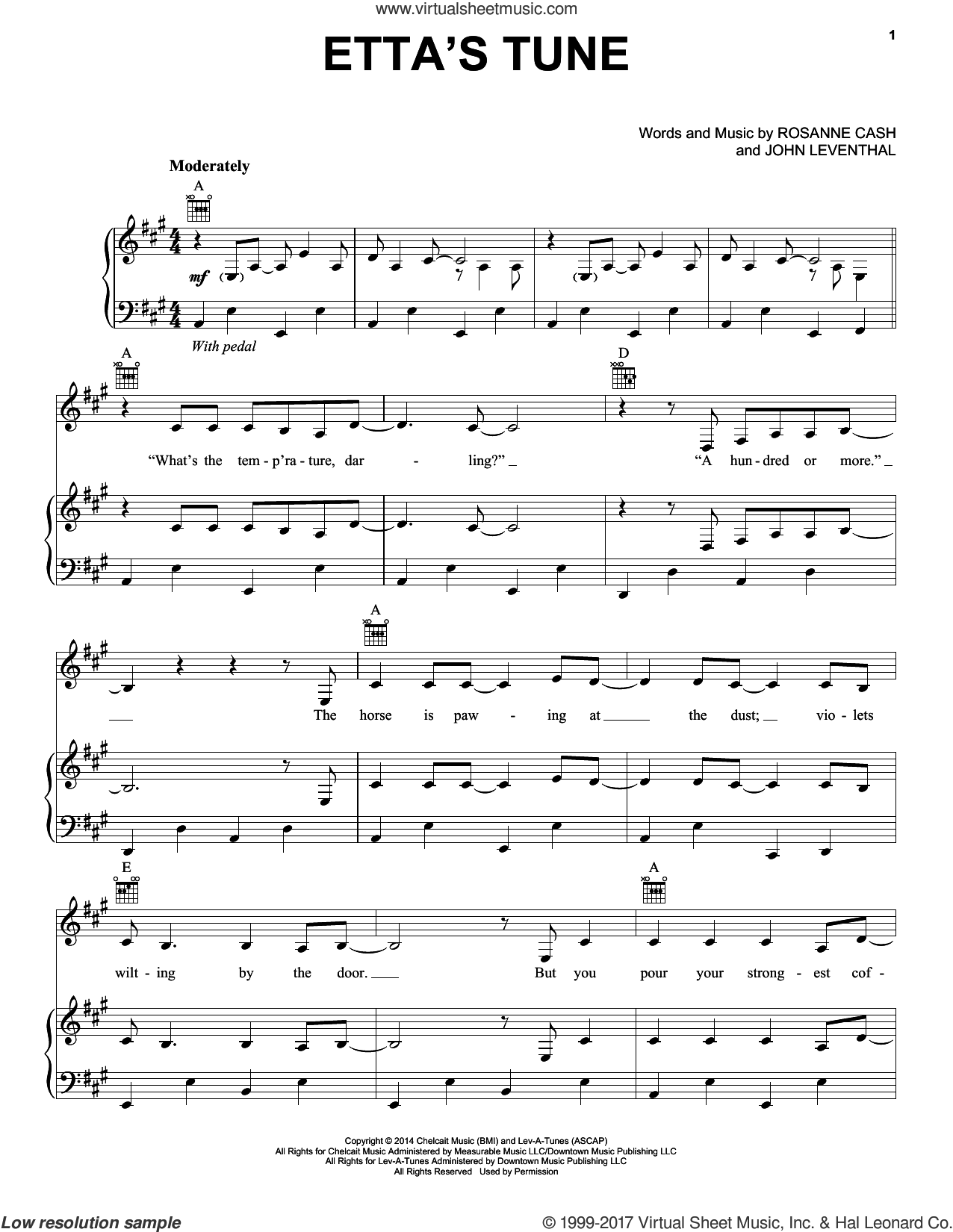 Etta's Tune sheet music for voice, piano or guitar by Rosanne Cash and John Leventhal. Score Image Preview.
