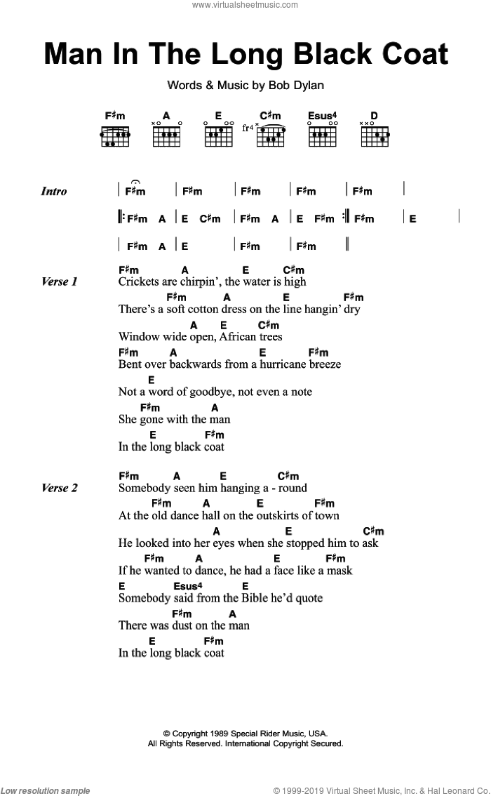 Man In The Long Black Coat sheet music for guitar (chords) by Bob Dylan, intermediate skill level