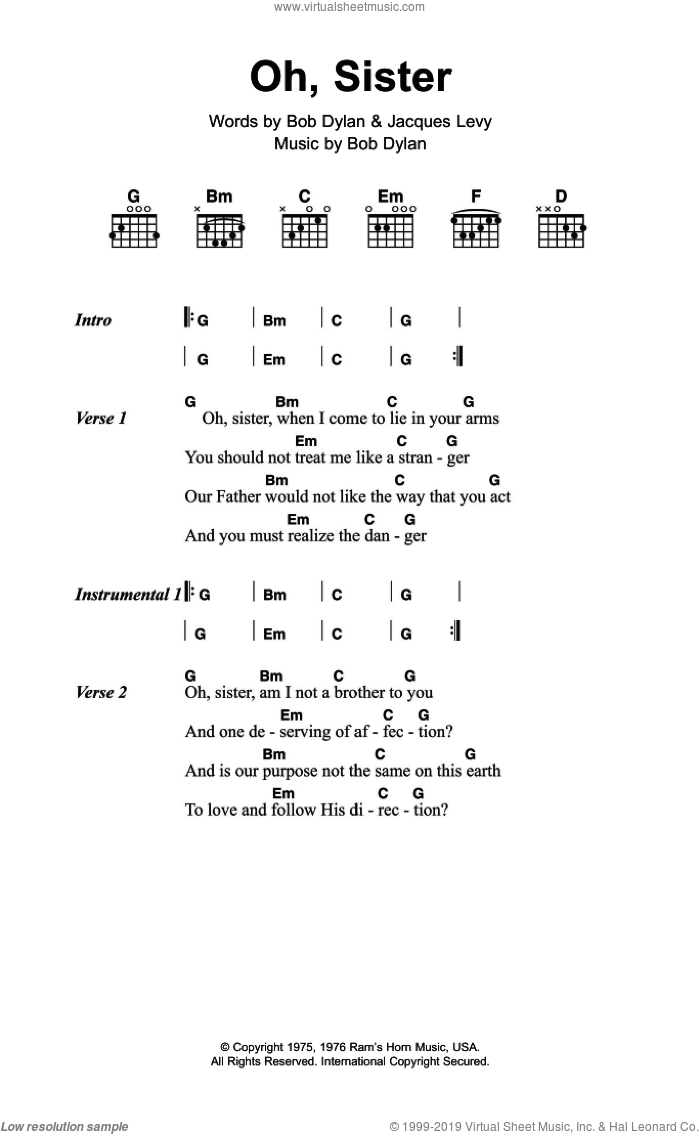 Dylan Oh Sister Sheet Music For Guitar Chords Pdf