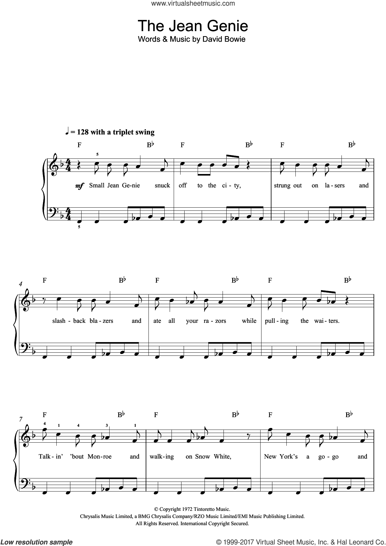 The Jean Genie sheet music for voice, piano or guitar by David Bowie, intermediate skill level