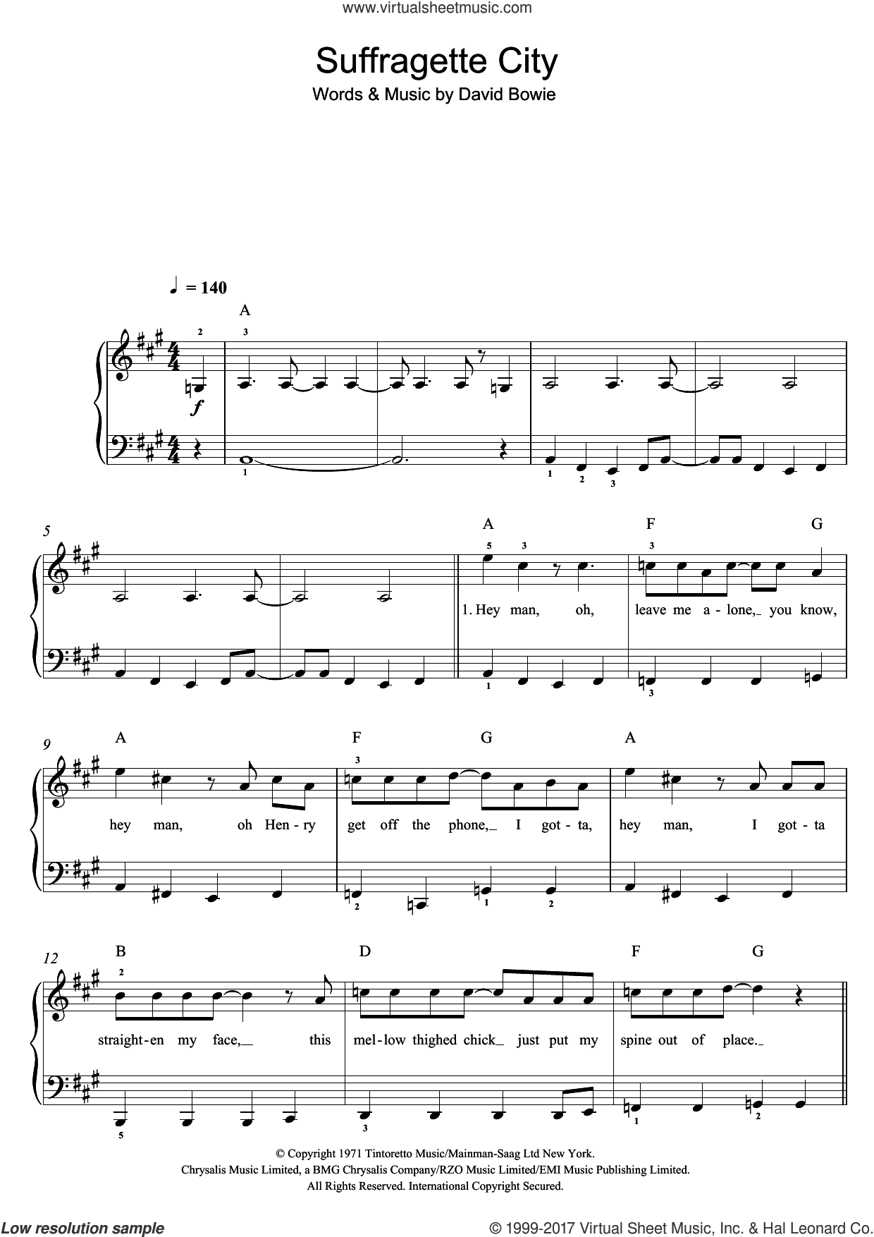 Suffragette City sheet music for voice, piano or guitar by David Bowie, intermediate skill level