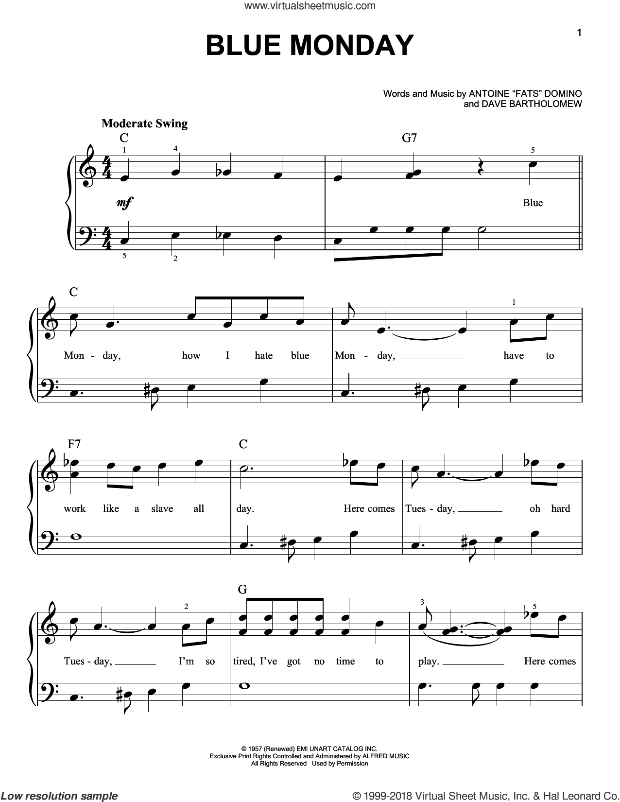 Blue Monday sheet music for piano solo by Dave Bartholomew, beginner skill level