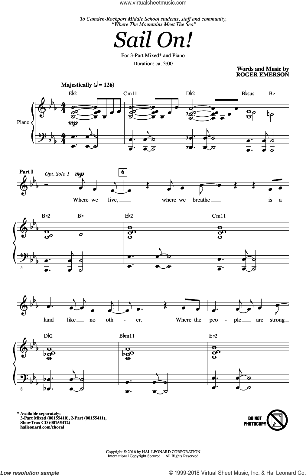 Sail On! sheet music for choir (3-Part Mixed) by Roger Emerson, intermediate skill level