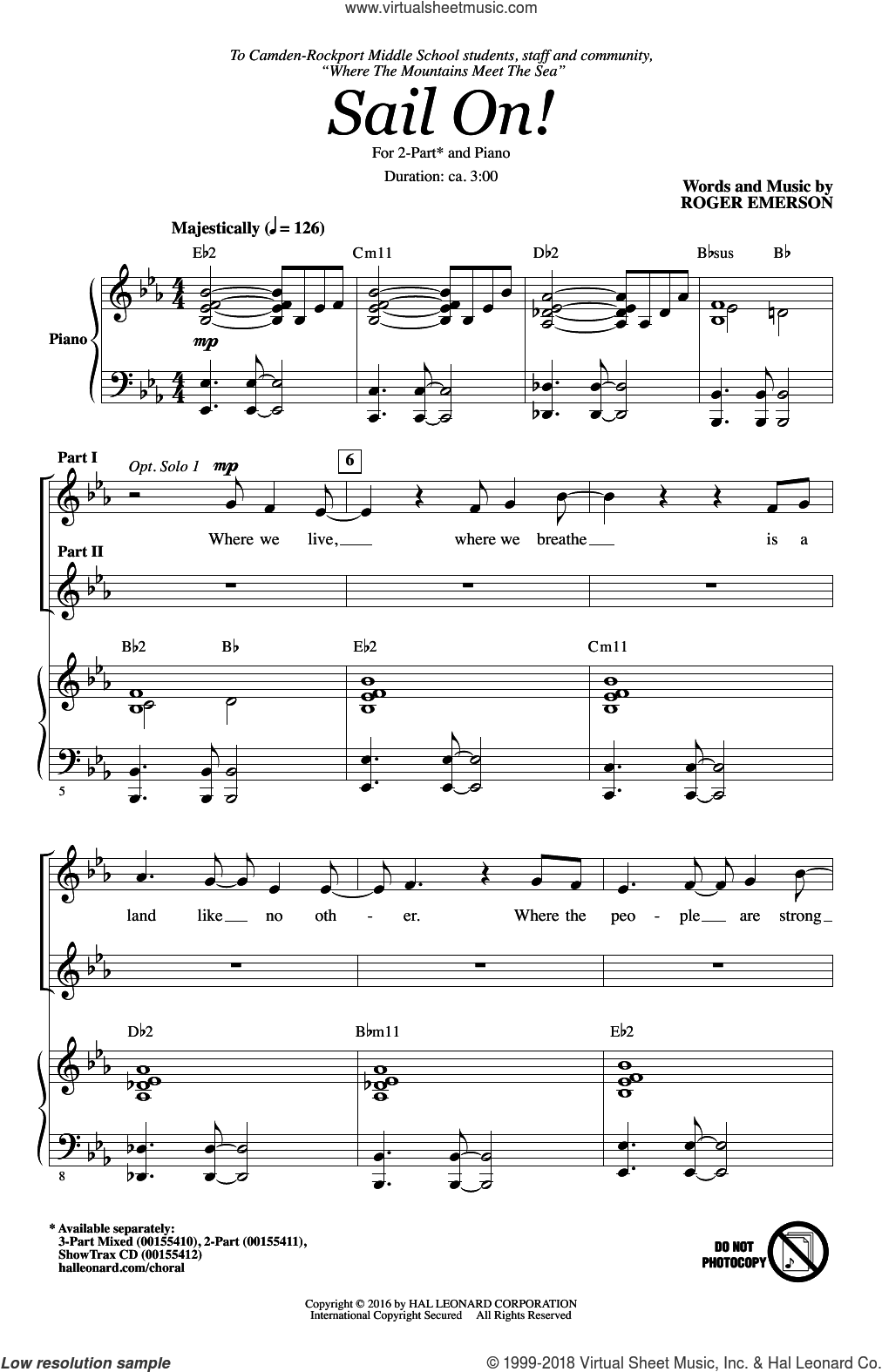 Sail On! sheet music for choir (duets) by Roger Emerson. Score Image Preview.