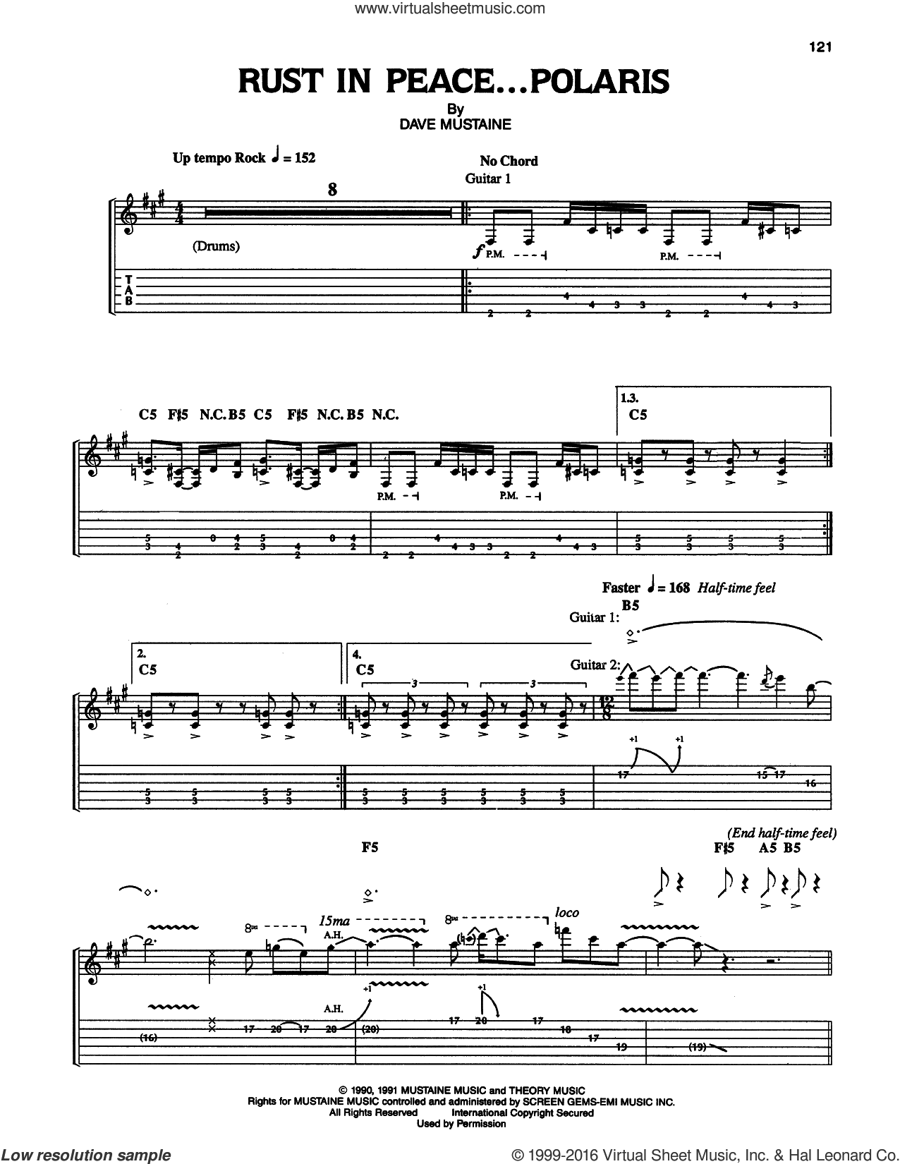 Rust In Peace...Polaris sheet music for guitar (tablature) by Megadeth and Dave Mustaine, intermediate skill level