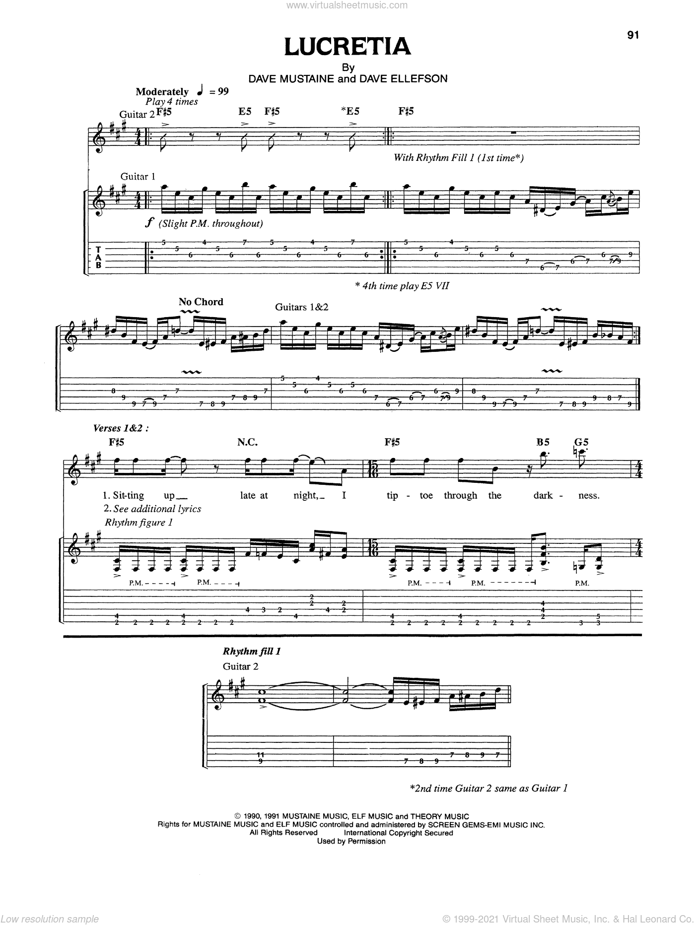 Lucretia sheet music for guitar (tablature) by Dave Mustaine and Megadeth. Score Image Preview.