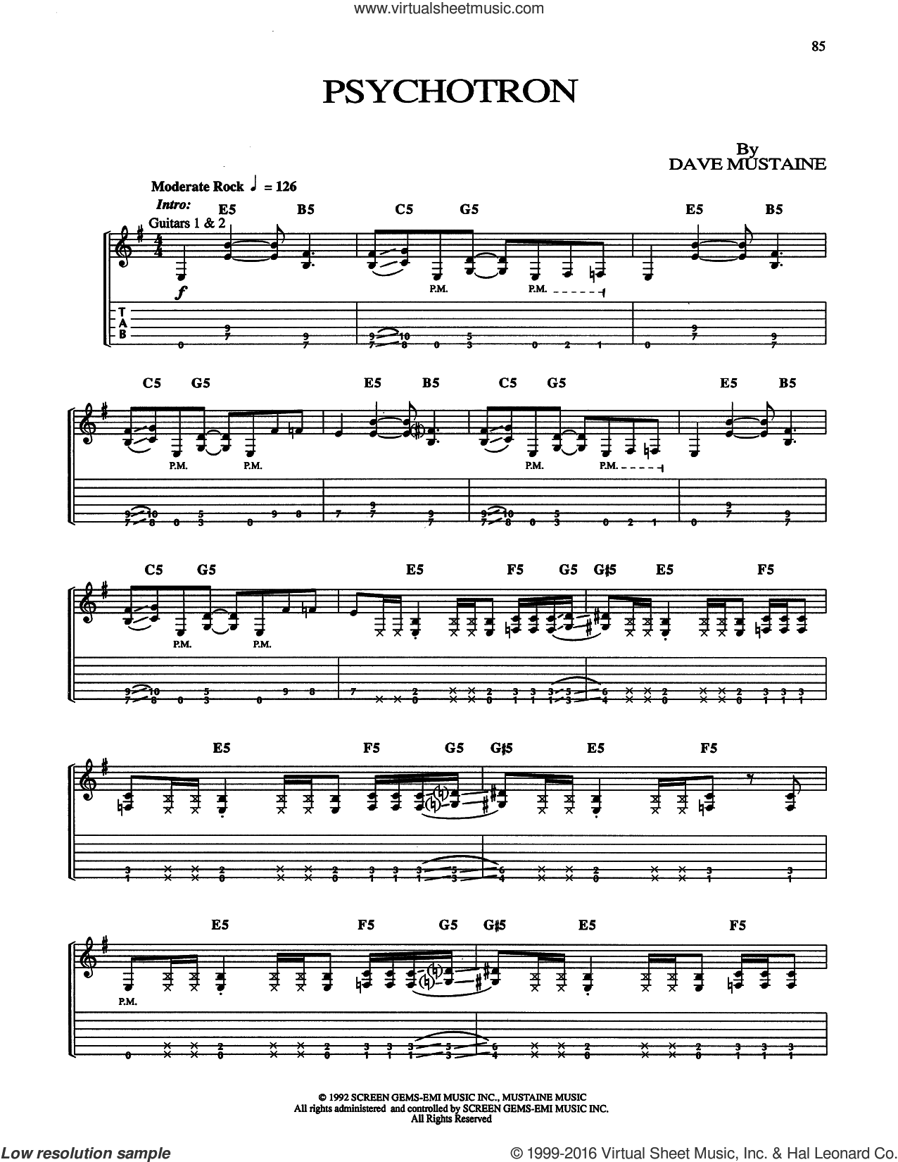 Psychotron sheet music for guitar (tablature) by Megadeth and Dave Mustaine, intermediate