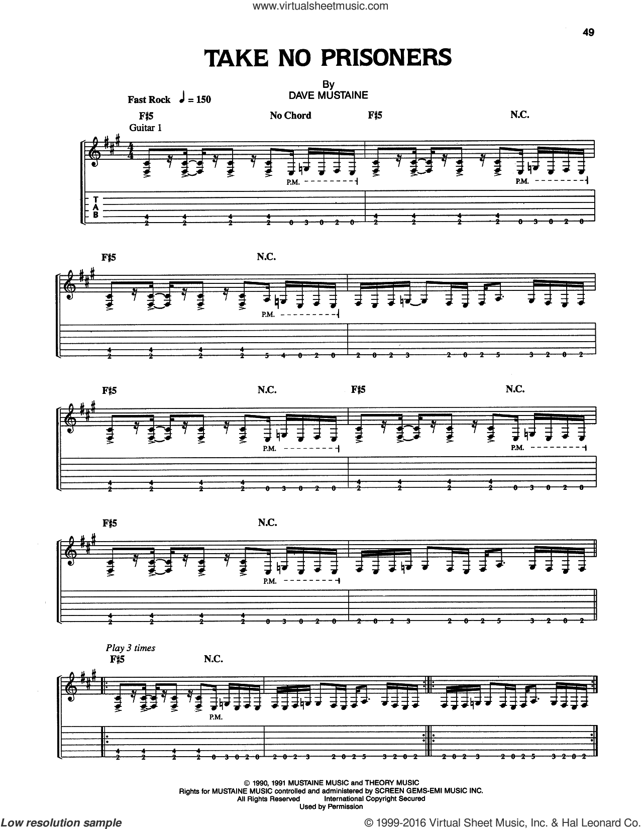 Take No Prisoners sheet music for guitar (tablature) by Dave Mustaine and Megadeth. Score Image Preview.