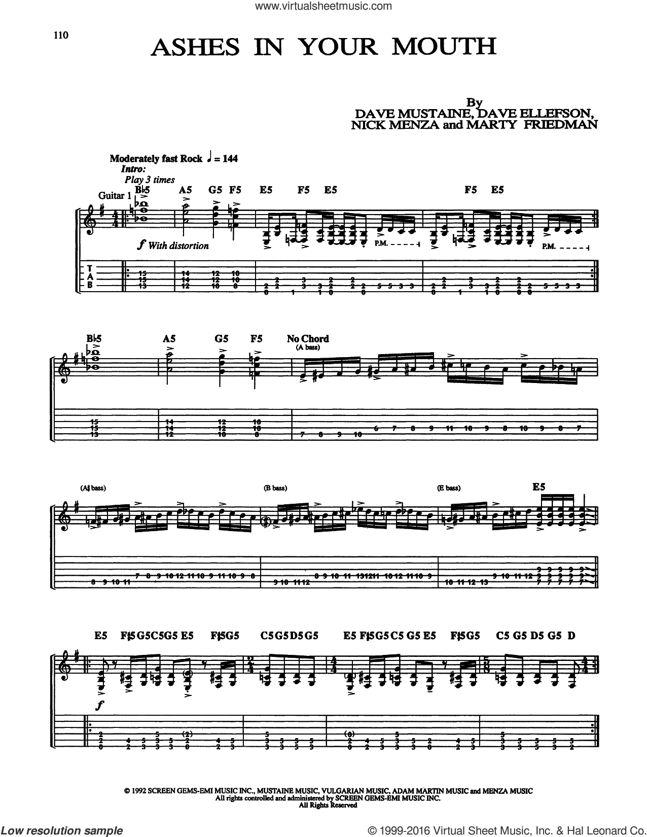 Ashes In Your Mouth sheet music for guitar (tablature) by Megadeth, Dave Ellefson, Dave Mustaine, Marty Friedman and Nick Menza, intermediate