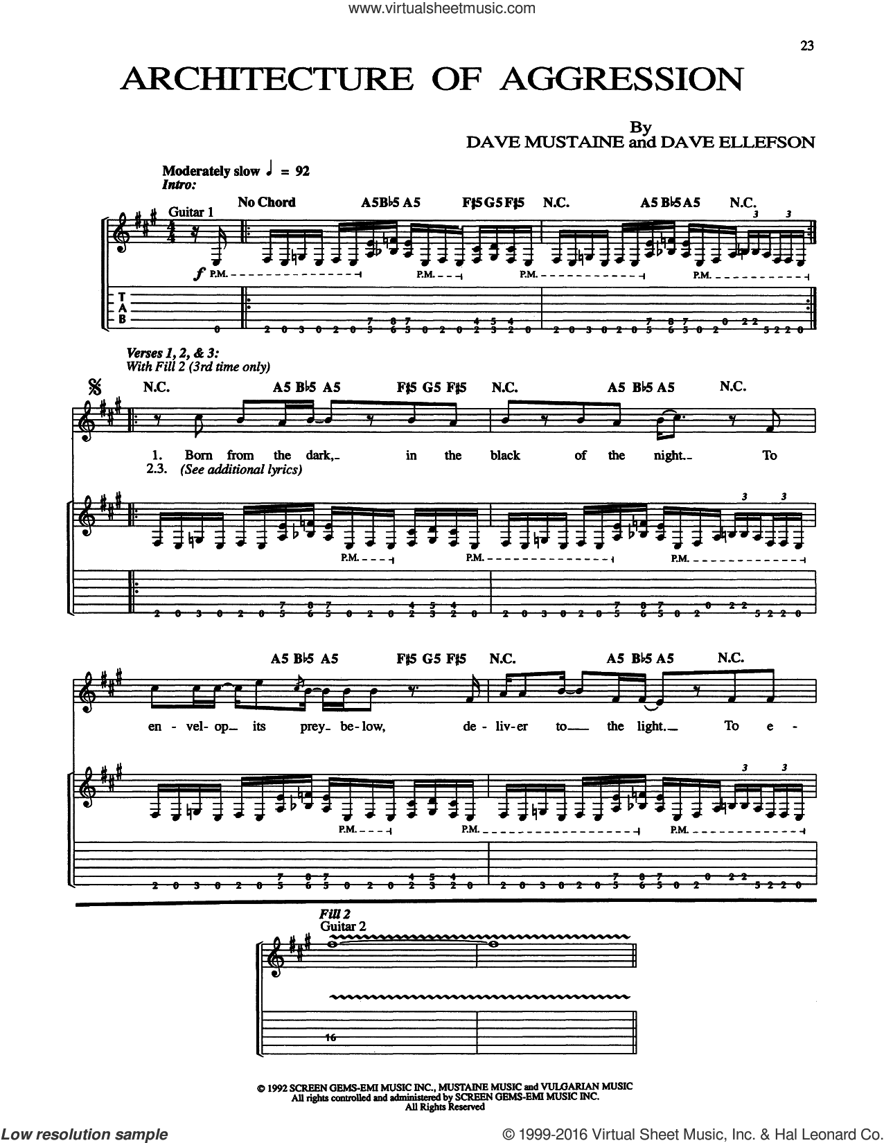 Architecture Of Aggression sheet music for guitar (tablature) by Megadeth. Score Image Preview.
