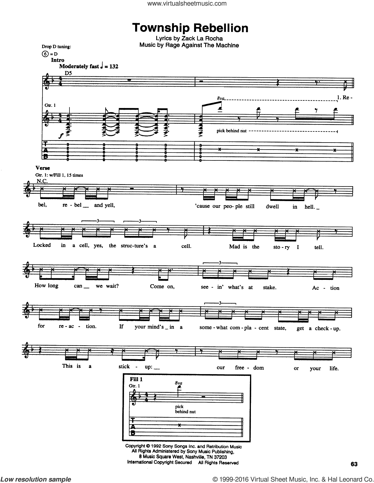 Township Rebellion sheet music for guitar (tablature) by Rage Against The Machine. Score Image Preview.