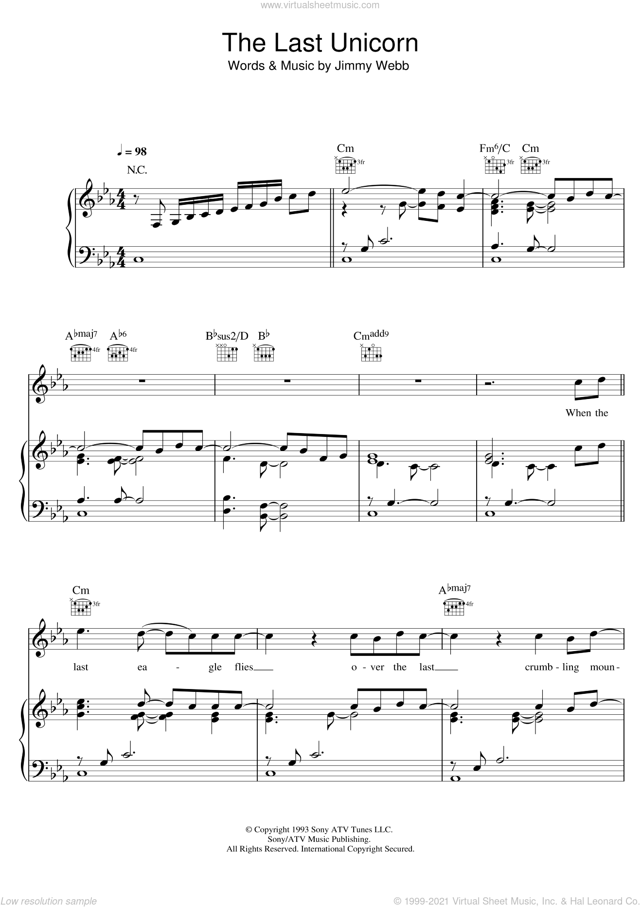 The Last Unicorn sheet music for voice, piano or guitar by Jimmy Webb and America. Score Image Preview.