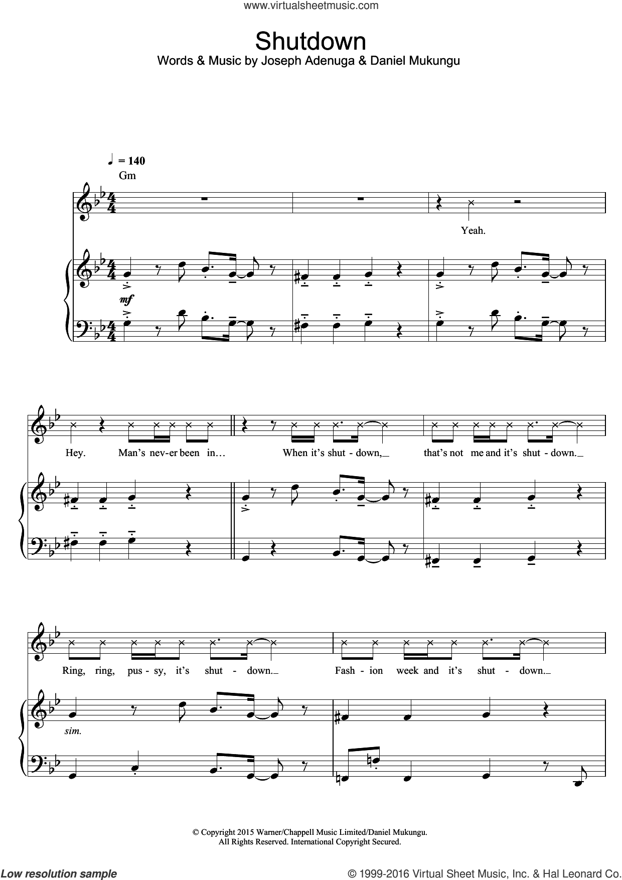 Shutdown sheet music for voice, piano or guitar by Skepta, Daniel Mukungu and Joseph Adenuga, intermediate skill level