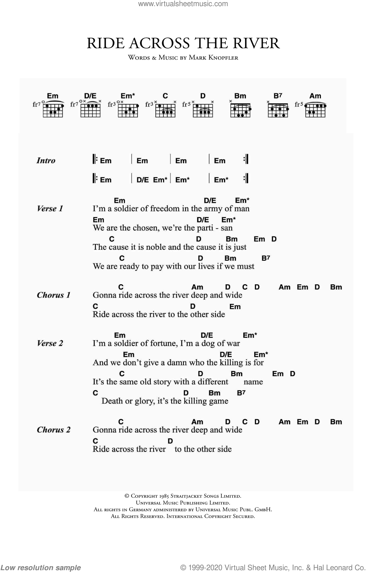 Ride Across The River sheet music for guitar (chords) by Mark Knopfler and Dire Straits. Score Image Preview.