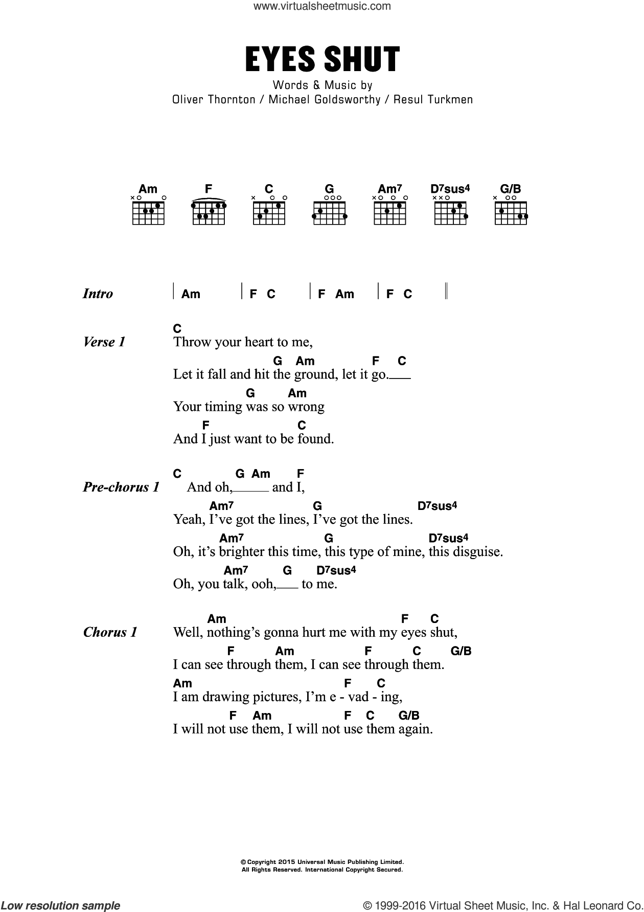 Eyes Shut sheet music for guitar (chords) by Resul Turkmen. Score Image Preview.