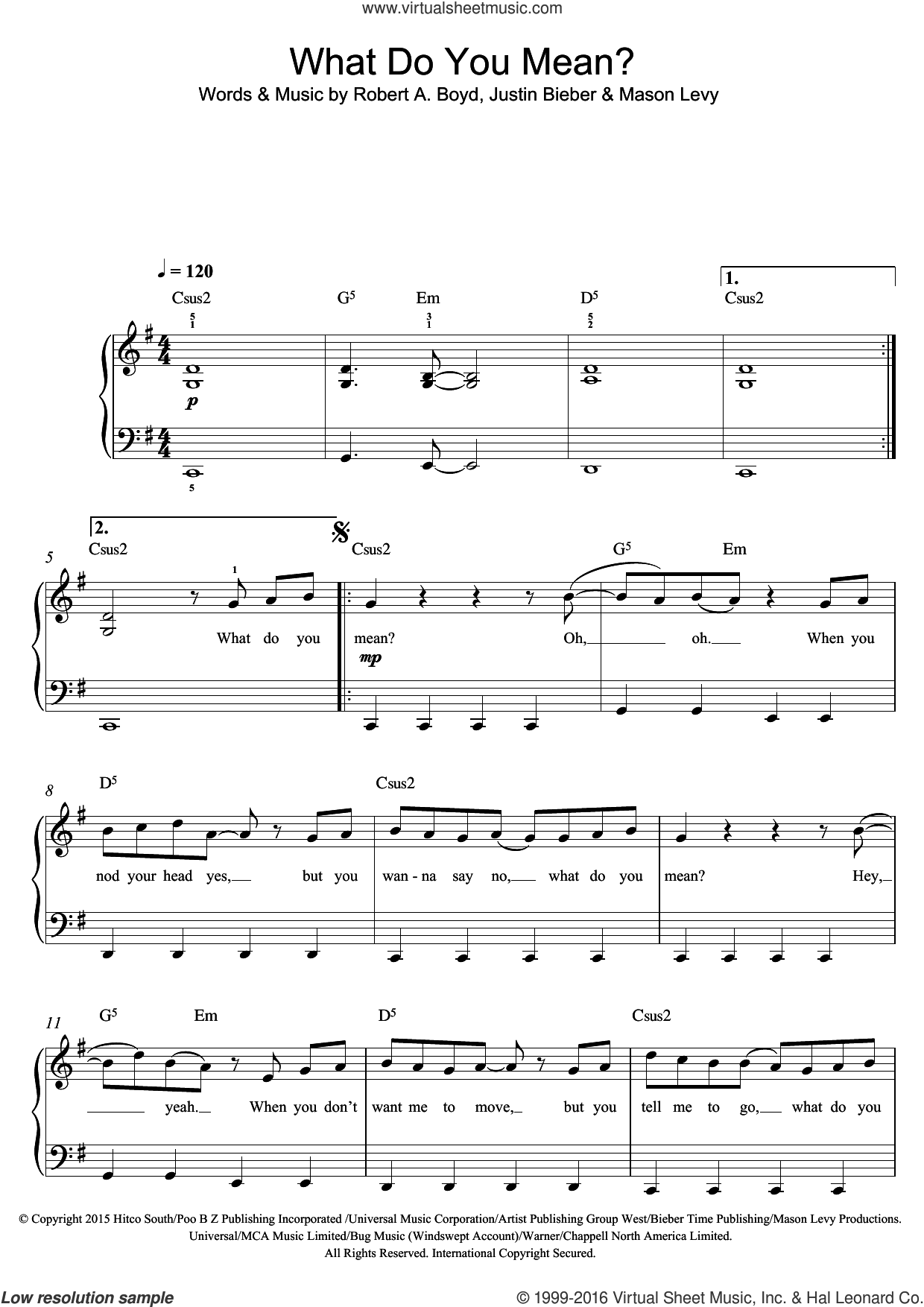 What Do You Mean? sheet music for voice, piano or guitar by Justin Bieber and Mason Levy. Score Image Preview.