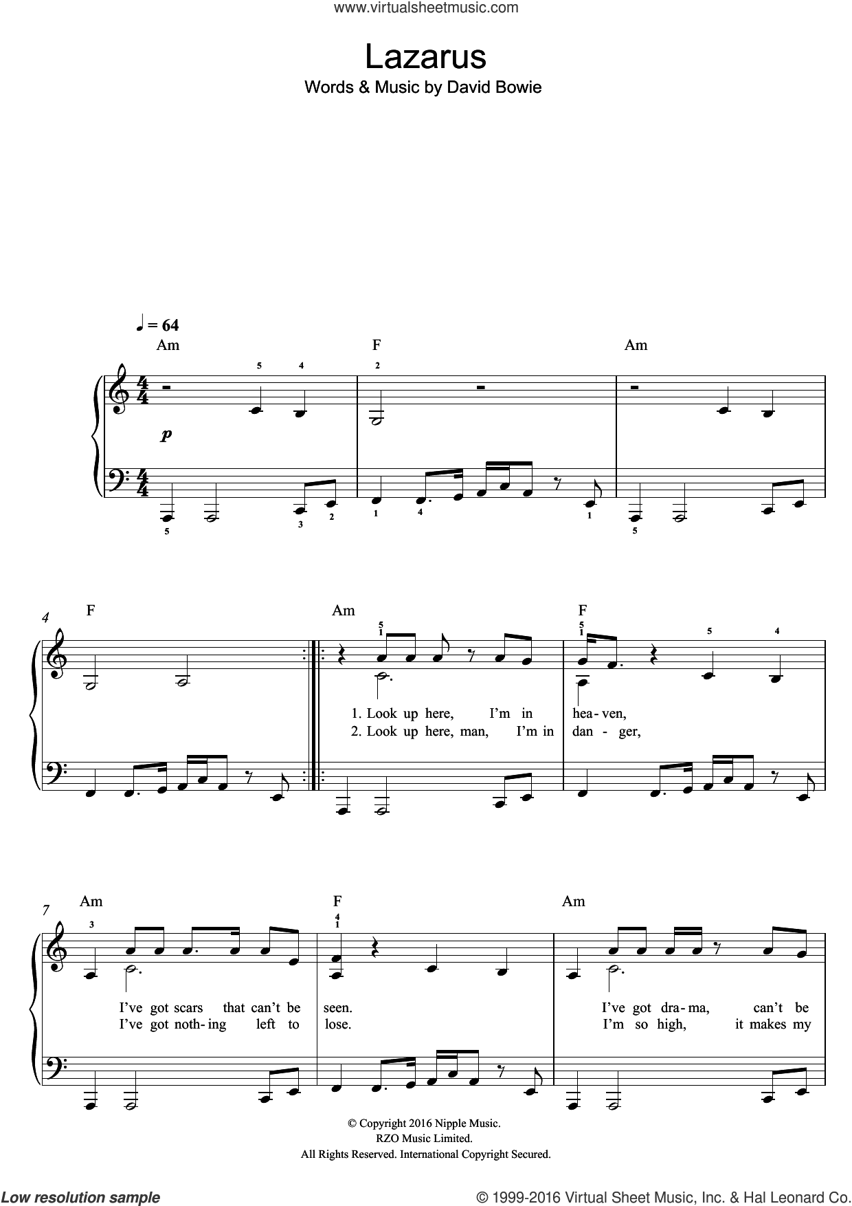 Lazarus sheet music for voice, piano or guitar by David Bowie. Score Image Preview.