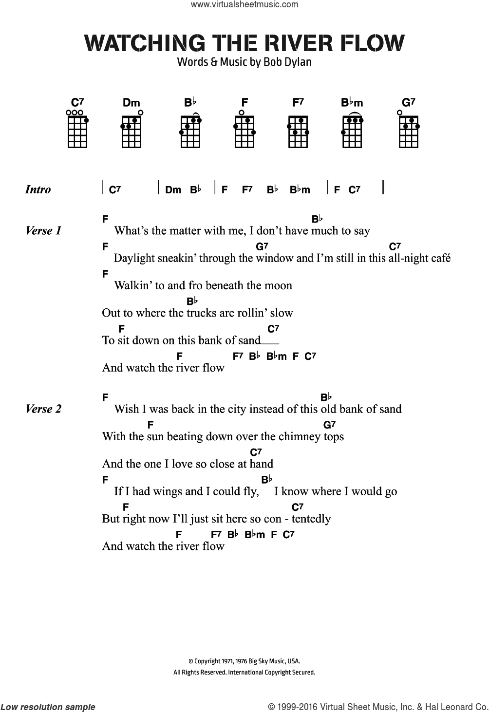 Watching The River Flow sheet music for ukulele (chords) by Bob Dylan, intermediate skill level