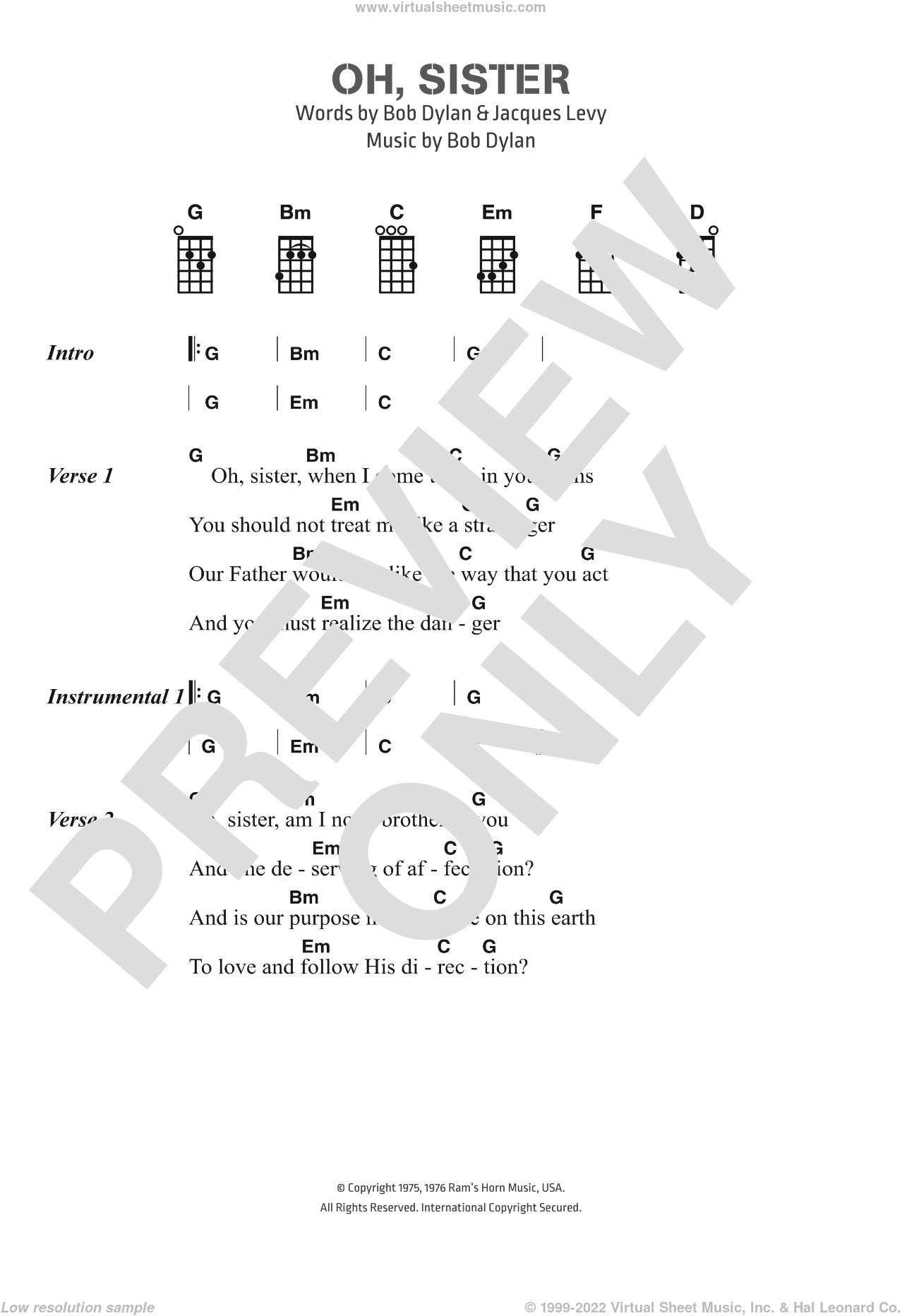 Oh, Sister sheet music for voice, piano or guitar by Jacques Levy and Bob Dylan. Score Image Preview.