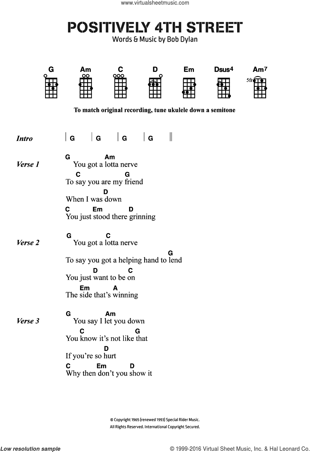 Positively 4th Street sheet music for voice, piano or guitar by Bob Dylan and Cat Stevens, intermediate skill level