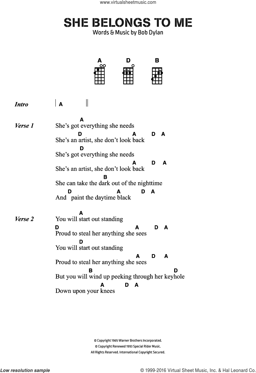 She Belongs To Me sheet music for voice, piano or guitar by Bob Dylan, intermediate