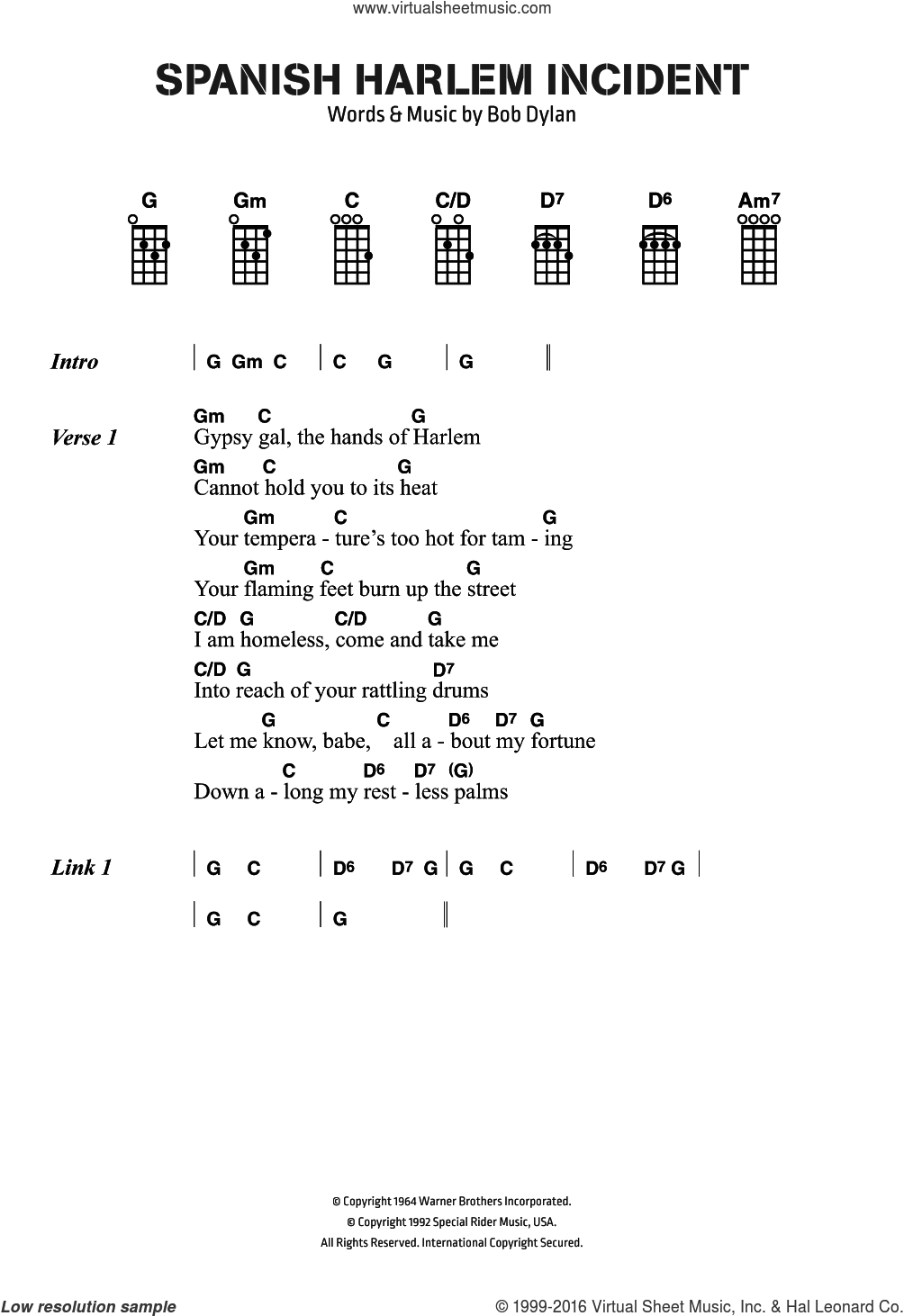 Spanish Harlem Incident sheet music for voice, piano or guitar by Bob Dylan, intermediate