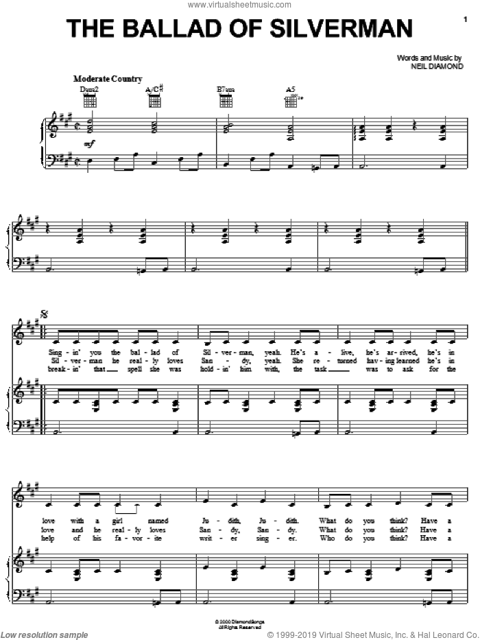The Ballad Of Silverman sheet music for voice, piano or guitar by Neil Diamond, intermediate. Score Image Preview.