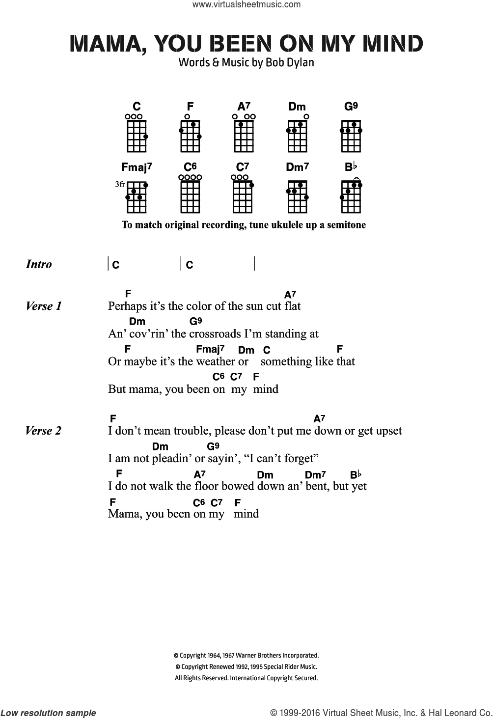 Mama, You Been On My Mind sheet music for ukulele (chords) by Bob Dylan, intermediate skill level
