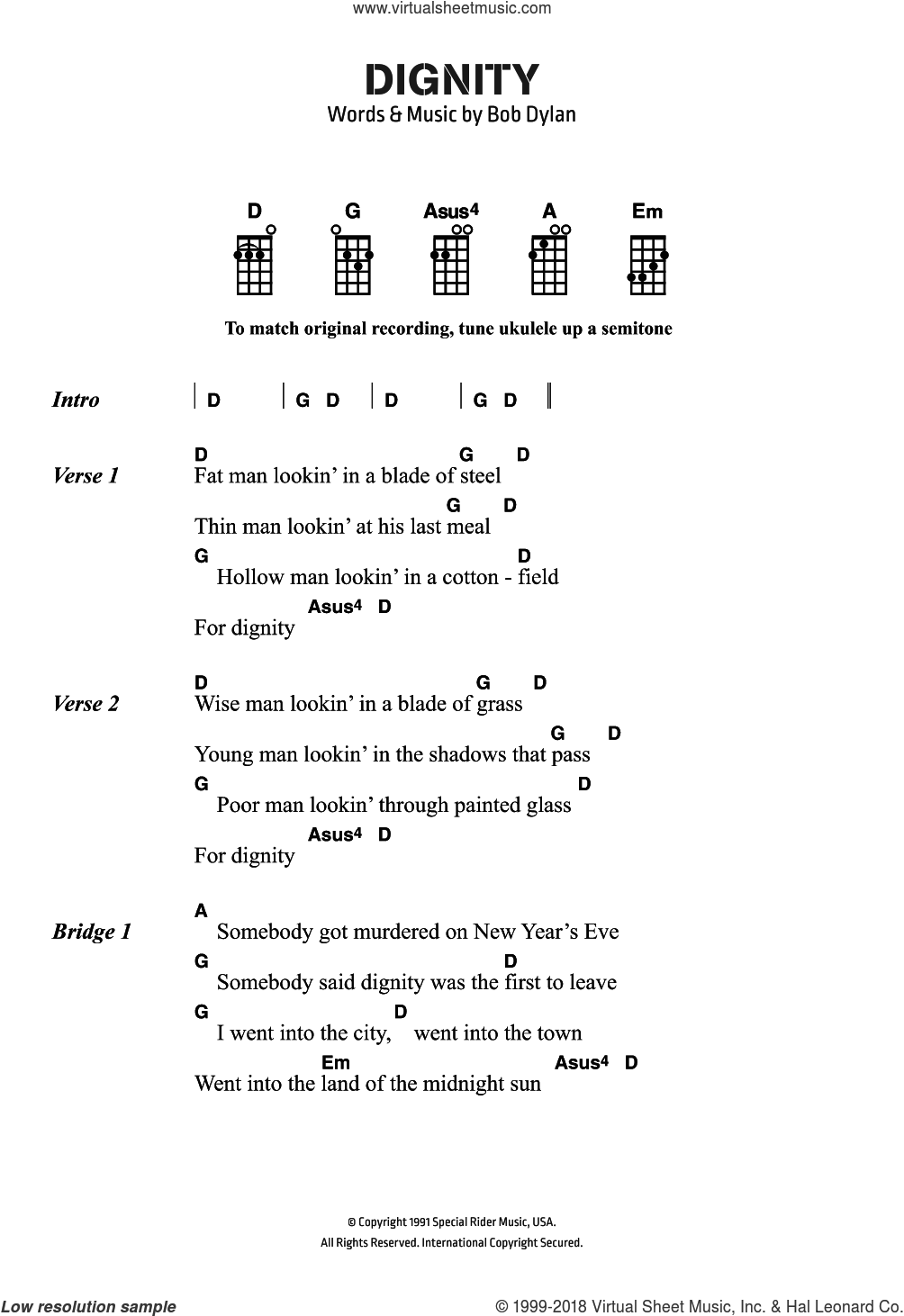 Dignity sheet music for ukulele (chords) by Bob Dylan, intermediate. Score Image Preview.
