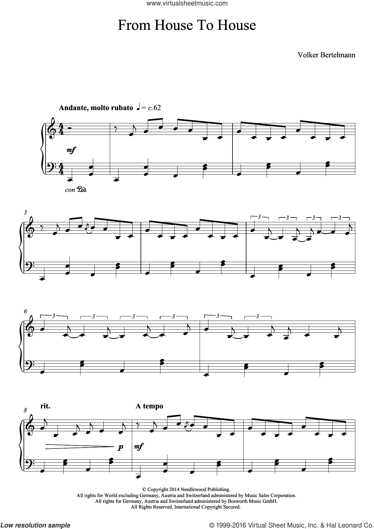 From House To House sheet music for piano solo by Hauschka, classical score, intermediate. Score Image Preview.