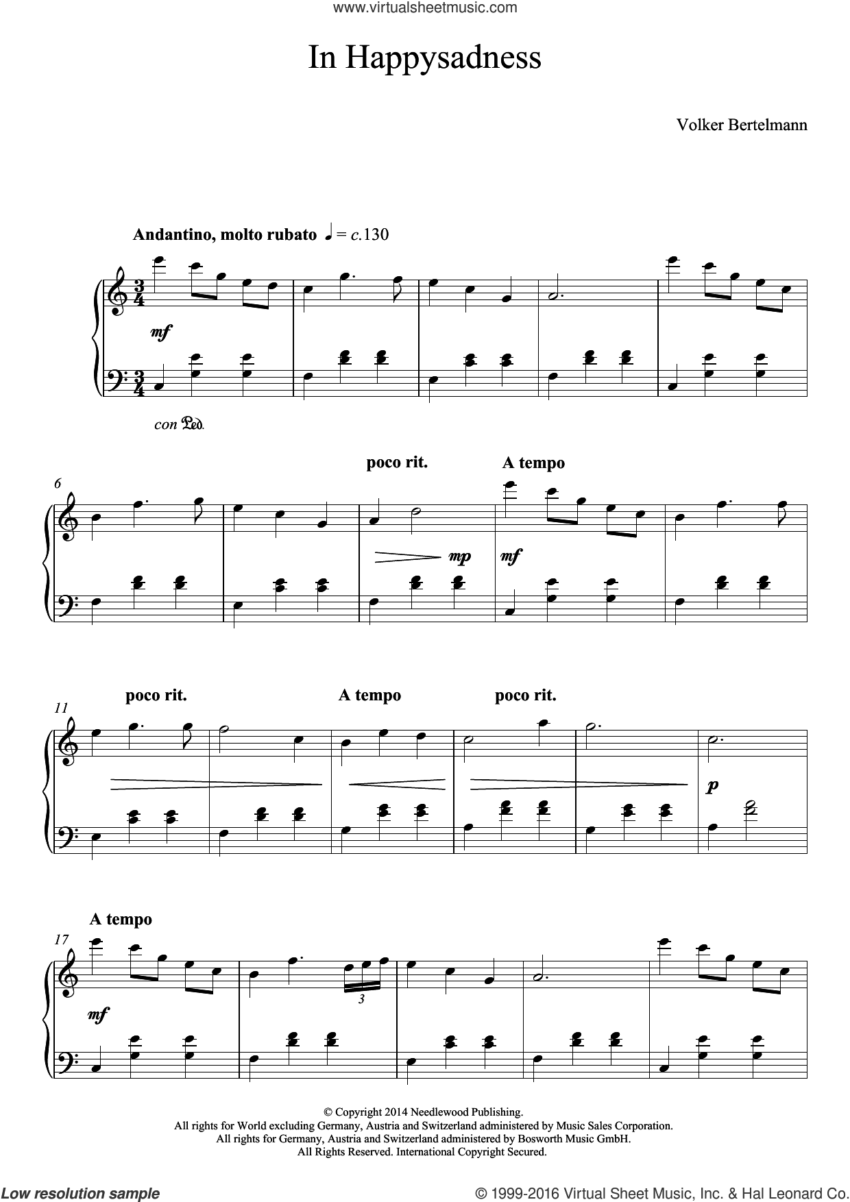 In Happysadness sheet music for piano solo by Hauschka and Volker Bertelmann, classical score, intermediate skill level