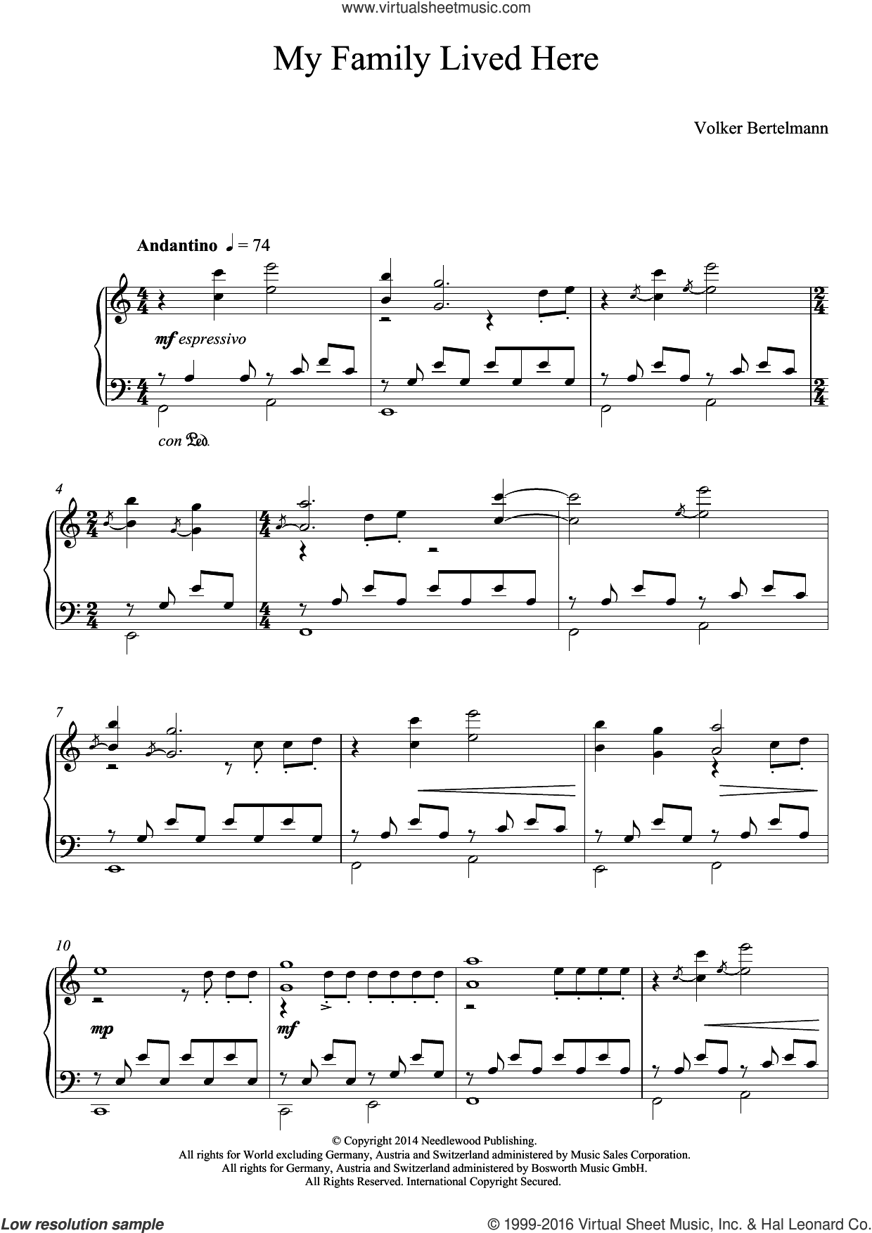 My Family Lived Here sheet music for piano solo by Volker Bertelmann and Hauschka. Score Image Preview.