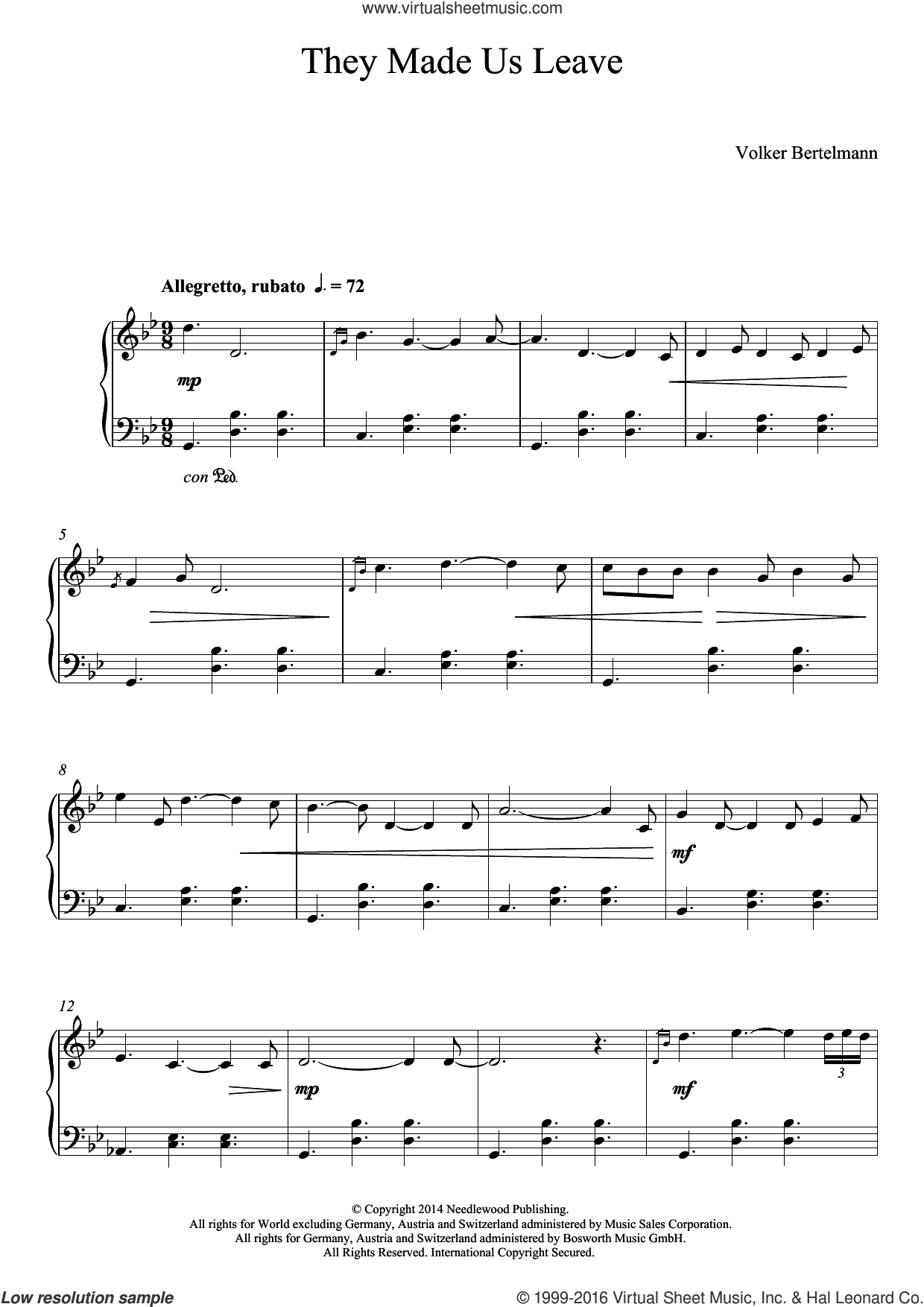 They Made Us Leave sheet music for piano solo by Hauschka and Volker Bertelmann, classical score, intermediate skill level