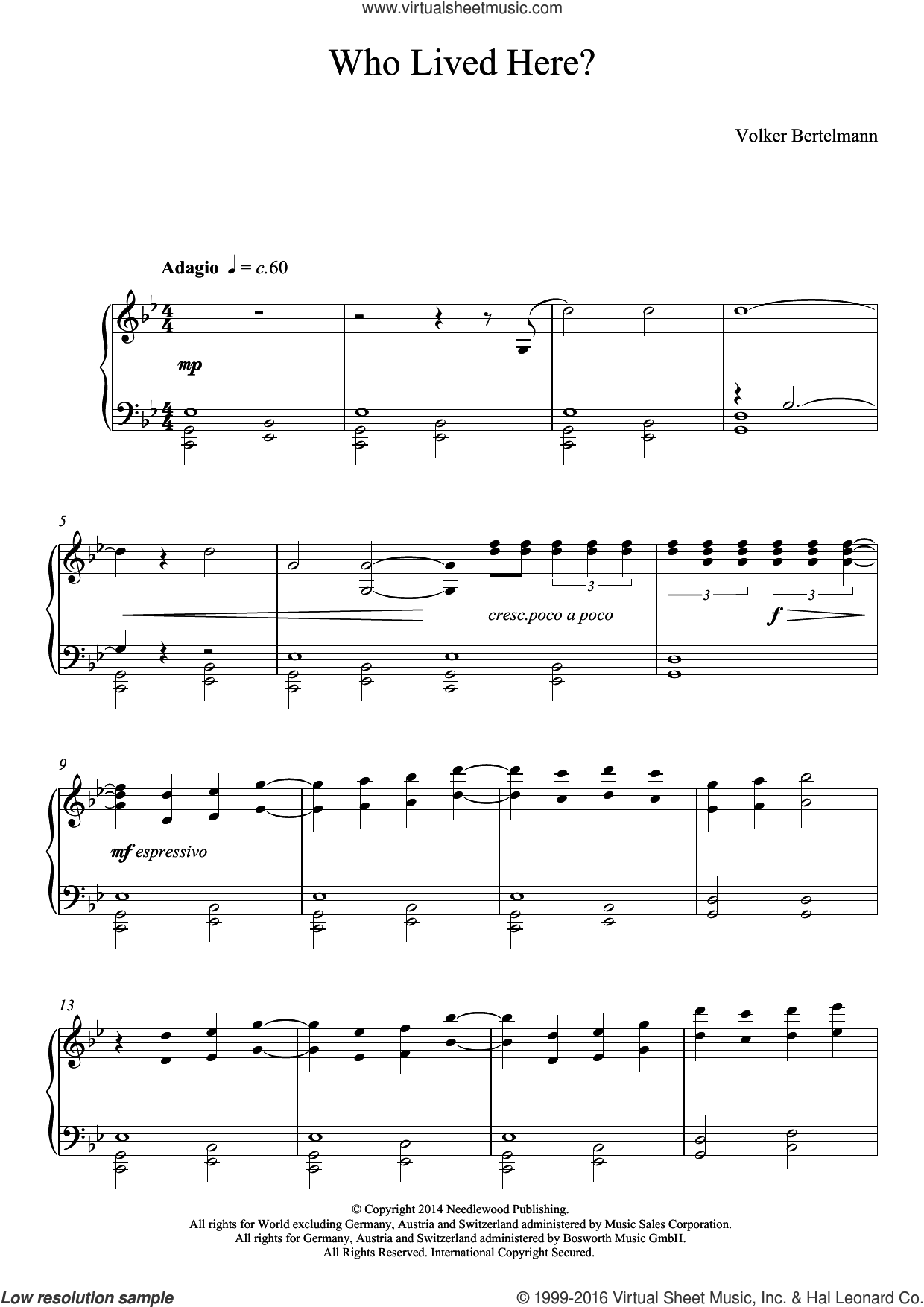 Who Lived Here? sheet music for piano solo by Hauschka and Volker Bertelmann, classical score, intermediate skill level