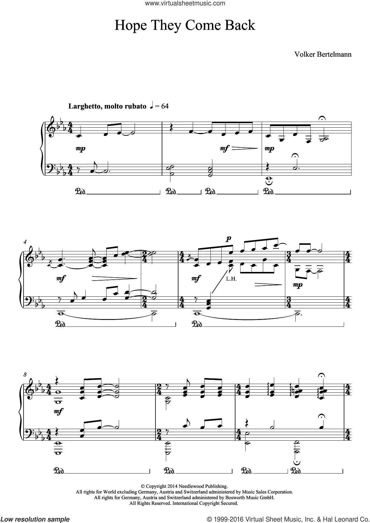 Hope They Come Back sheet music for piano solo by Hauschka and Volker Bertelmann, classical score, intermediate skill level
