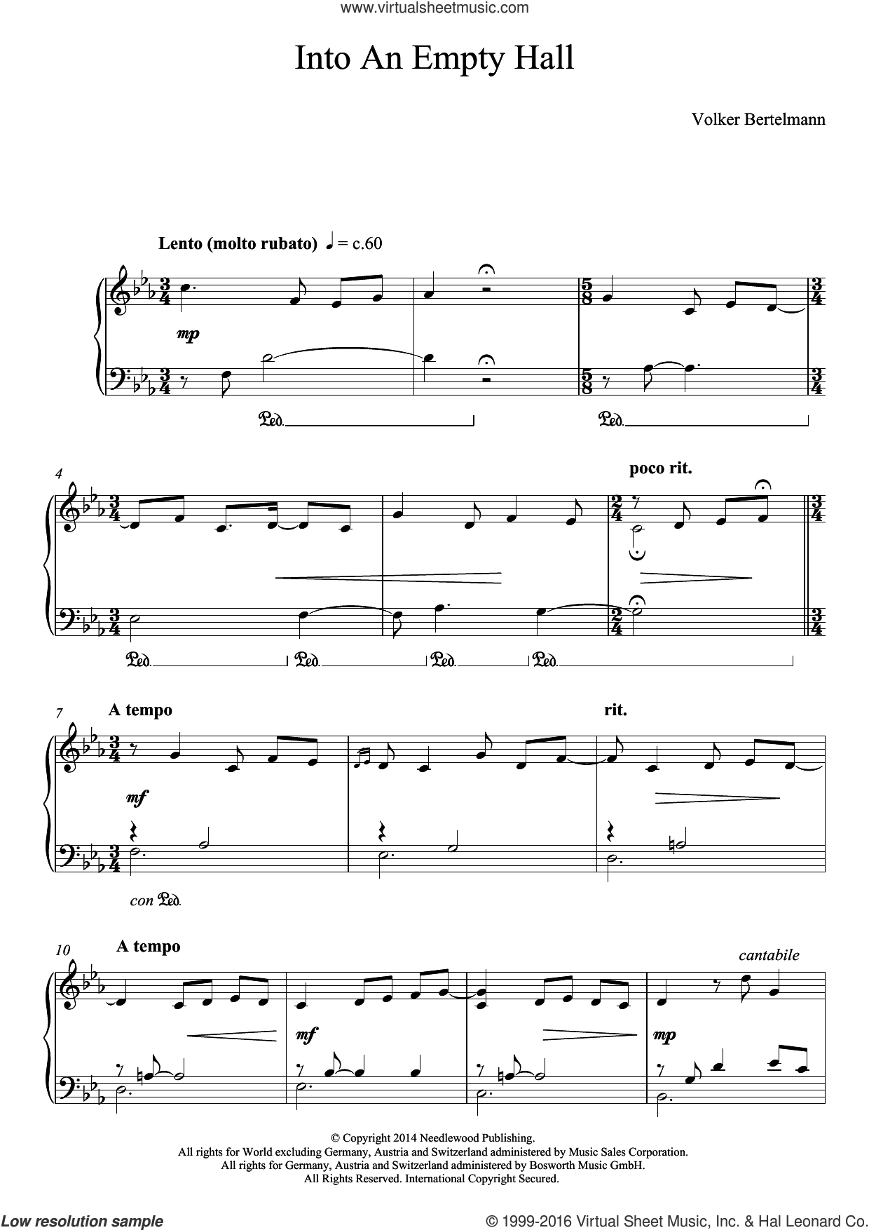 Into An Empty Hall sheet music for piano solo by Hauschka and Volker Bertelmann, classical score, intermediate skill level
