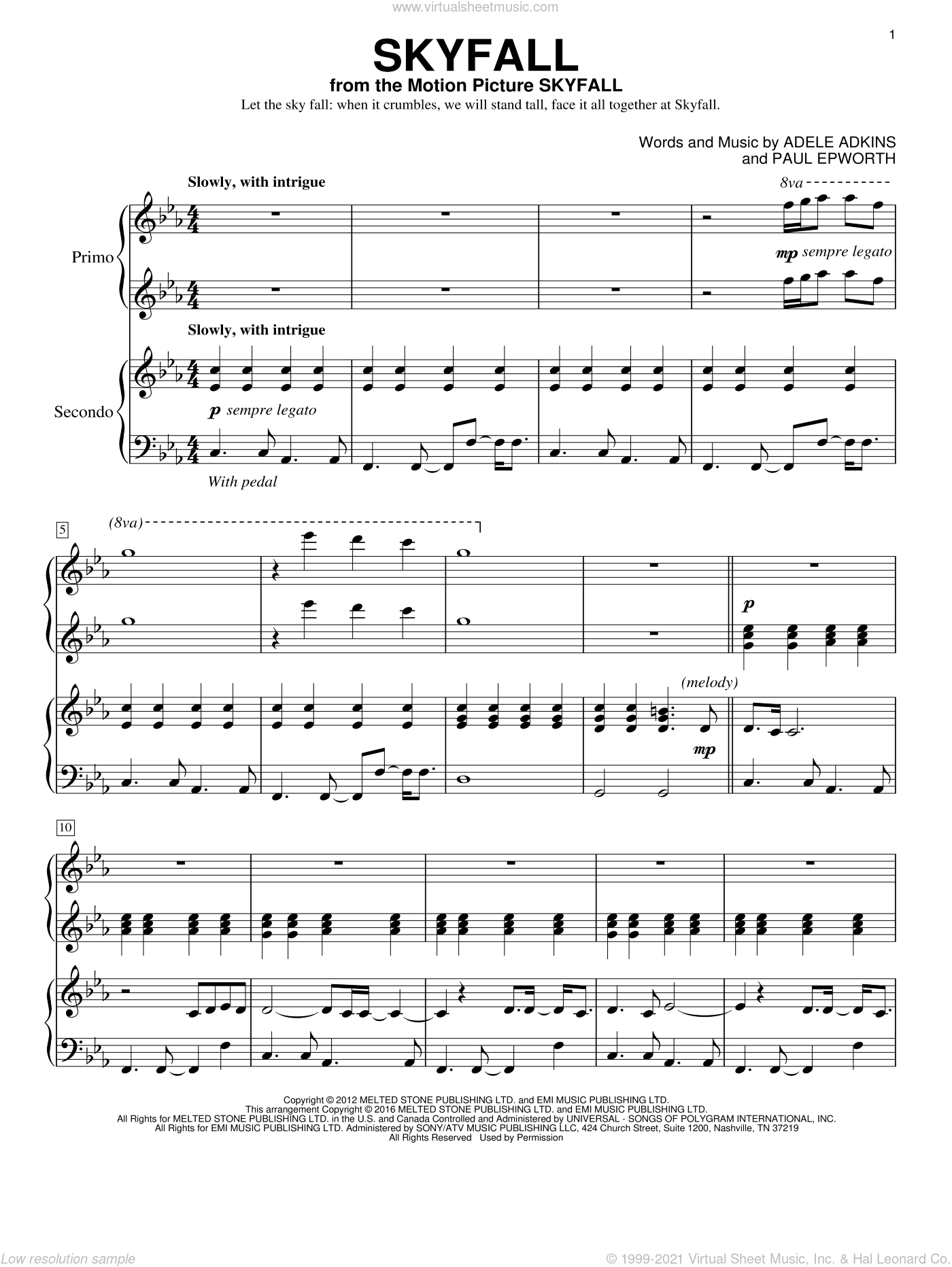 Skyfall sheet music for piano four hands by Adele, Eric Baumgartner, Adele Adkins and Paul Epworth, intermediate skill level
