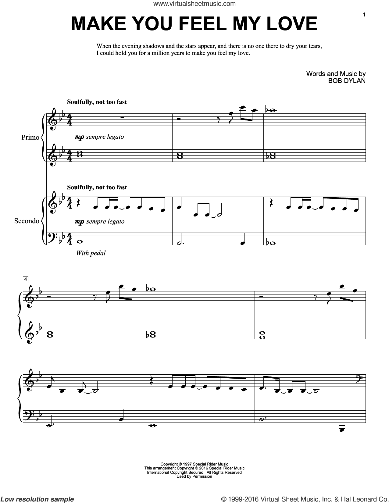 Make You Feel My Love sheet music for piano four hands by Adele, Eric Baumgartner and Bob Dylan, intermediate skill level